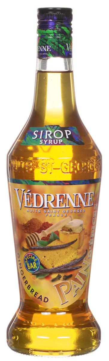 Vedrenne Имбирный пряник сироп, 0,7 лSVDRPD-070B01Сироп Имбирный пряник откроет вам настоящий дух Рождества. Его производят из экстракта корня имбиря, который растет в Индии, Африке, Китае и Австралии. Сладость можно использовать в качестве основы для множества коктейлей, в том числе слоеных и молочных, а также для пропиток тортов, пирожных, фруктовых салатов.Сиропы изготавливаются на основе натурального растительного сырья, фруктовых и ягодных соков прямого отжима, цитрусовых настоев, а также с использованием очищенной воды без вредных примесей, что позволяет выдержать все ценные и полезные свойства натуральных фруктово-ягодных плодов и трав. В состав сиропов входит только натуральный сахар, произведенный по традиционной технологии из сахарозы. Благодаря высокому содержанию концентрированного фруктового сока, сиропы Vedrenne обладают изысканным ароматом и натуральным вкусом, являются эффективным подсластителем при незначительной калорийности. Они оптимизируют уровень влажности и процесс кристаллизации десертов, хорошо смешиваются с другими ингредиентами и способствуют улучшению вкусовых качеств напитков и десертов.Сиропы Vedrenne разливаются в стеклянные бутылки с яркими этикетками, на которых изображен фрукт, ягода или другой ингредиент, определяющий вкусовые оттенки того или иного продукта Vedrenne. Емкости с сиропами Vedrenne герметичны, поэтому не позволяют содержимому контактировать с микроорганизмами и другими губительными внешними воздействиями. Кроме того, стеклянные бутылки выглядят оригинально и стильно.В настоящее время компания Vedrenne считается одним из лучших производителей высококлассных сиропов, отличающихся натуральным вкусом, а также насыщенным ароматом и глубоким цветом. Фруктовые сиропы Vedrenne пользуются большой популярностью не только во Франции (где их широко используют как в сегменте HoReCa, так и в домашних условиях), но и экспортируются более чем в 50 стран мира.Цвет: желто-золотистый, с янтарным оттенкомАромат: теплый, сладкий, пряныйВк