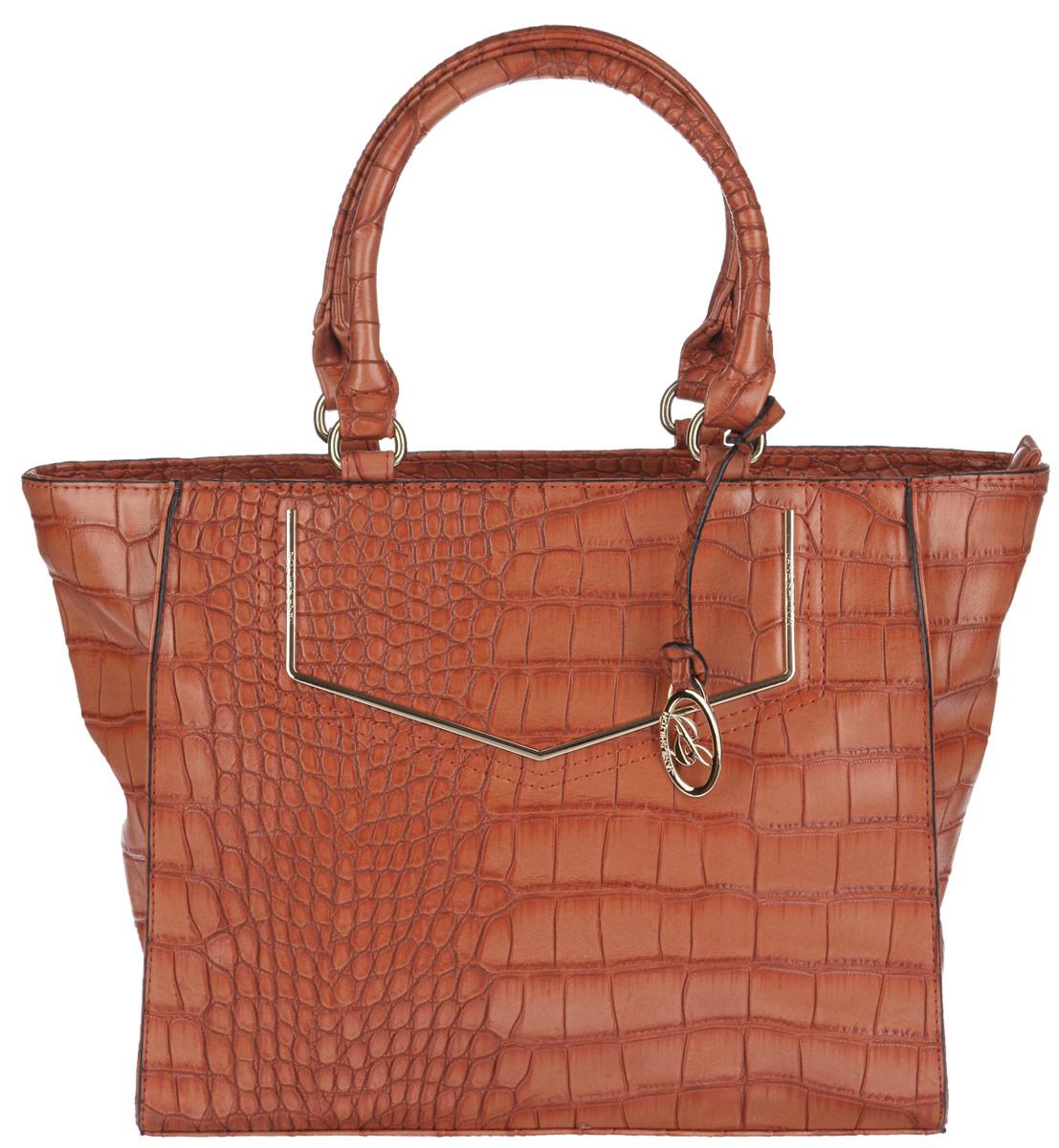 Сумка женская Jane Shilton, цвет: темно-оранжевый. 194071069с-2Стильная женская сумка Jane Shilton выполнена из искусственной кожи с тиснением под рептилию. Изделие имеет одно основное отделение, разделенное пополам карманом-средником на застежке-молнии. Внутри имеется прорезной кармашек на застежке-молнии и открытый пришивной карман. Снаружи на задней стенке располагается прорезной карман на застежке-молнии. Изделие закрывается на застежку-молнию. Модель оснащена двумя удобными ручками. Сумка украшена брелоком с логотипом бренда. Роскошная сумка внесет элегантные нотки в ваш образ и подчеркнет ваше отменное чувство стиля.