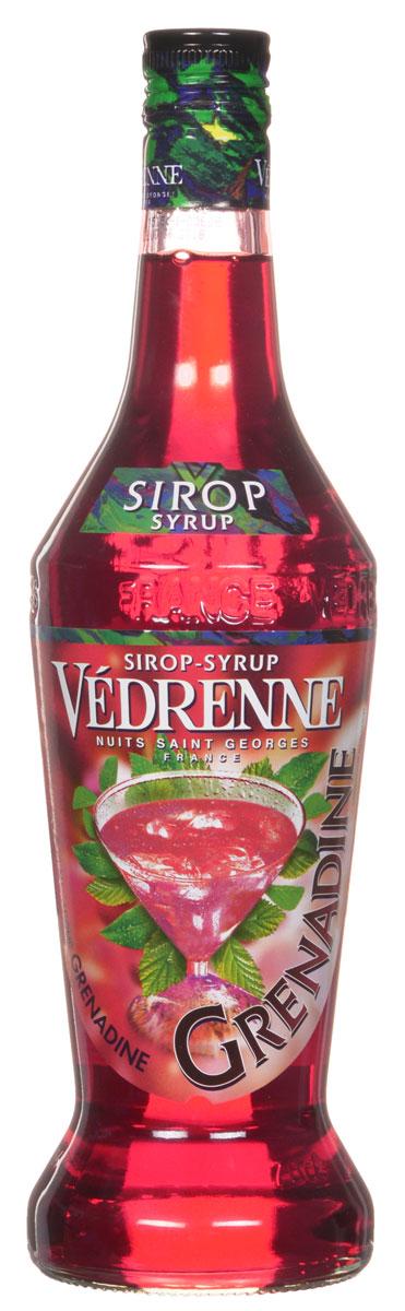Vedrenne Гренадин сироп, 0,7 л0120710Сироп Гренадин - поистине один из самых популярных продуктов данной категории. Его вкус прекрасно сочетается с другими напитками, в том числе и алкогольными, лимонадами, компотами, кофе и холодным чаем.Сиропы изготавливаются на основе натурального растительного сырья, фруктовых и ягодных соков прямого отжима, цитрусовых настоев, а также с использованием очищенной воды без вредных примесей, что позволяет выдержать все ценные и полезные свойства натуральных фруктово-ягодных плодов и трав. В состав сиропов входит только натуральный сахар, произведенный по традиционной технологии из сахарозы. Благодаря высокому содержанию концентрированного фруктового сока, сиропы Vedrenne обладают изысканным ароматоми натуральным вкусом, являются эффективным подсластителем при незначительной калорийности. Они оптимизируют уровень влажности и процесс кристаллизации десертов, хорошо смешиваются с другими ингредиентами и способствуют улучшению вкусовых качеств напитков и десертов.Сиропы Vedrenne разливаются в стеклянные бутылки с яркими этикетками, на которых изображен фрукт, ягода или другой ингредиент, определяющий вкусовые оттенки того или иного продукта Vedrenne. Емкости с сиропами Vedrenne герметичны, поэтому не позволяют содержимому контактировать с микроорганизмами и другими губительными внешними воздействиями. Кроме того, стеклянные бутылки выглядят оригинально и стильно.В настоящее время компания Vedrenne считается одним из лучшихпроизводителей высококлассных сиропов, отличающихся натуральным вкусом, а также насыщенным ароматом и глубокимцветом. Фруктовые сиропы Vedrenne пользуются большой популярностью не только во Франции (где их широко используют как в сегменте HoReCa, так и в домашних условиях), но и экспортируются более чем в 50 стран мира. Цвет: ярко-красныйАромат: чувственный аромат красных ягод с оттенком ванилиВкус: нежный, яркий, с приятной сладостью красных ягодРецепт коктейля Сливочная МечтаИнгредиенты:20 мл сиропа Vedrenne Голубик
