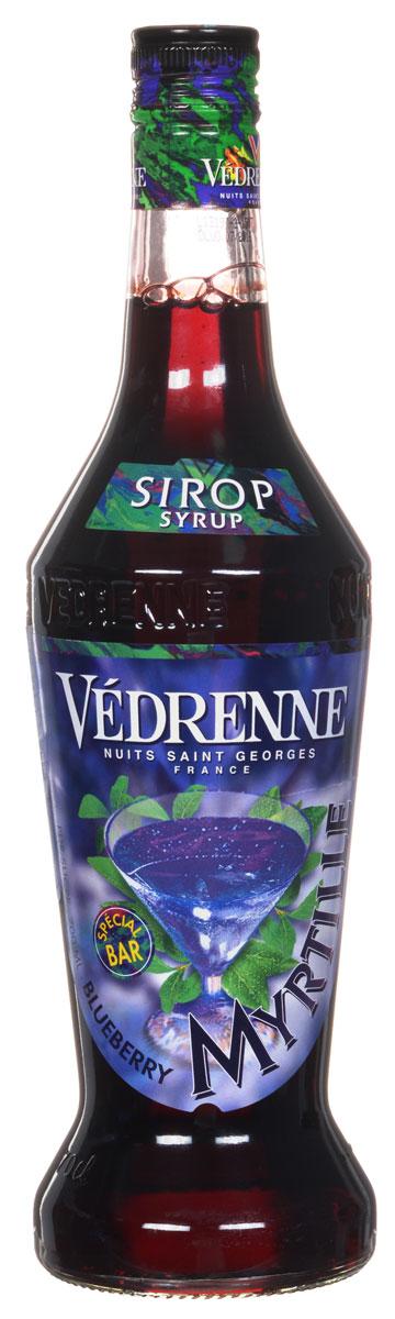 Vedrenne Голубика сироп, 0,7 л0120710Сироп Голубика обладает выразительным вкусоароматом свежих ягод голубики. Данный продукт производится на основе натурального ягодного сока первого отжима с добавлением очищенной воды и сахара. Голубика весьма неприхотлива, поэтому это растение встречается практически на всех континентах. Сиропом поливают блины, оладьи и вафли, а особенно хорошо сироп из голубики сочетается со сливочным мороженым.Сиропы изготавливаются на основе натурального растительного сырья, фруктовых и ягодных соков прямого отжима, цитрусовых настоев, а также с использованием очищенной воды без вредных примесей, что позволяет выдержать все ценные и полезные свойства натуральных фруктово-ягодных плодов и трав. В состав сиропов входит только натуральный сахар, произведенный по традиционной технологии из сахарозы. Благодаря высокому содержанию концентрированного фруктового сока, сиропы Vedrenne обладают изысканным ароматом и натуральным вкусом, являются эффективным подсластителем при незначительной калорийности. Они оптимизируют уровень влажности и процесс кристаллизации десертов, хорошо смешиваются с другими ингредиентами и способствуют улучшению вкусовых качеств напитков и десертов.Сиропы Vedrenne разливаются в стеклянные бутылки с яркими этикетками, на которых изображен фрукт, ягода или другой ингредиент, определяющий вкусовые оттенки того или иного продукта Vedrenne. Емкости с сиропами Vedrenne герметичны, поэтому не позволяют содержимому контактировать с микроорганизмами и другими губительными внешними воздействиями. Кроме того, стеклянные бутылки выглядят оригинально и стильно.В настоящее время компания Vedrenne считается одним из лучшихпроизводителей высококлассных сиропов, отличающихся натуральным вкусом, а также насыщенным ароматом и глубоким цветом. Фруктовые сиропы Vedrenne пользуются большой популярностью не только во Франции (где их широко используют как в сегменте HoReCa, так и в домашних условиях), но и экспортируются более чем в 50 стран мира.Цве