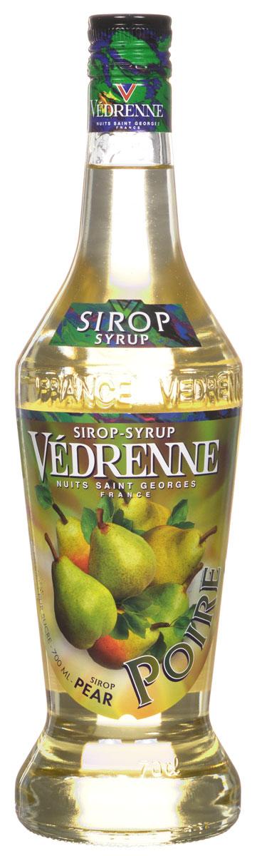 Vedrenne Груша сироп, 0,7 л0120710Традиционно сироп Груша изготавливается из натурального растительного сырья — грушевого сока или пюре с добавлением тростникового сахара и очищенной воды.Сиропы изготавливаются на основе натурального растительного сырья, фруктовых и ягодных соков прямого отжима, цитрусовых настоев, а также с использованием очищенной воды без вредных примесей, что позволяет выдержать все ценные и полезные свойства натуральных фруктово-ягодных плодов и трав. В состав сиропов входит только натуральный сахар, произведенный по традиционной технологии из сахарозы. Благодаря высокому содержанию концентрированного фруктового сока, сиропы Vedrenne обладают изысканным ароматом и натуральным вкусом, являются эффективным подсластителем при незначительной калорийности. Они оптимизируют уровень влажности и процесс кристаллизации десертов, хорошо смешиваются с другими ингредиентами и способствуют улучшению вкусовых качеств напитков и десертов.Сиропы Vedrenne разливаются в стеклянные бутылки с яркими этикетками, на которых изображен фрукт, ягода или другой ингредиент, определяющий вкусовые оттенки того или иного продукта Vedrenne. Емкости с сиропами Vedrenne герметичны, поэтому не позволяют содержимому контактировать с микроорганизмами и другими губительными внешними воздействиями. Кроме того, стеклянные бутылки выглядят оригинально и стильно.В настоящее время компания Vedrenne считается одним из лучших производителей высококлассных сиропов, отличающихся натуральным вкусом, а также насыщенным ароматом и глубоким цветом. Фруктовые сиропы Vedrenne пользуются большой популярностью не только во Франции (где их широко используют как в сегменте HoReCa, так и в домашних условиях), но и экспортируются более чем в 50 стран мира.Цвет: светло-песочныйАромат: нежный, ароматный, с нотами сочной мякоти грушВкус: мягкий, сочный, сладкийРецепт коктейля Грушетто Хлоп ШотИнгредиенты:10 мл сиропа Vedrenne Груша;20 мл ристретто;20 мл взбитых сливок;5 г какао.Способ приготовления:В шот