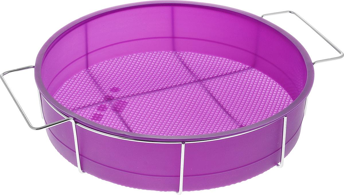 Форма для выпечки Marmiton Круг, силиконовая, на подставке, цвет: фиолетовый, диаметр 26 см16047_фиолетовыйФорма для выпечки Marmiton Круг, выполненная из силикона, предназначена для приготовления выпечки, пудинга, запеканок и желе. Изделие не взаимодействует с продуктами питания и не впитывает запахи, как при нагревании, так и при заморозке. Готовую выпечку или пудинг извлекать из формы легко и просто.С такой формой вы всегда сможете порадовать своих близких оригинальным изделием. Материал устойчив к фруктовым кислотам, может быть использован в духовках и микроволновых печах (выдерживает температуру от 240°C до - 40°C). Можно мыть и сушить в посудомоечной машине. В комплекте металлическая подставка.Диаметр формы: 26 см. Высота формы: 6 см.Размер подставки: 31 см х 25 см х 7,5 см.