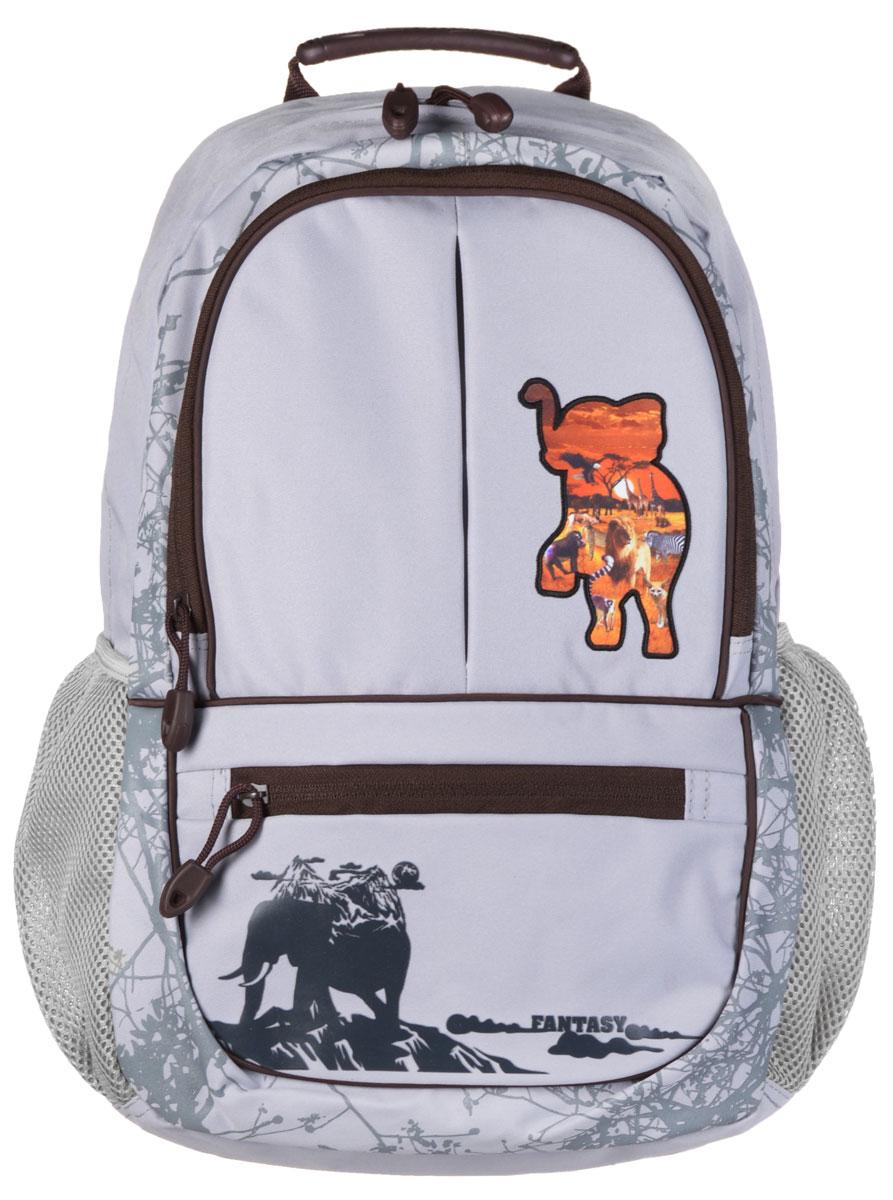 Tiger Enterprise Рюкзак детский Fantasy цвет серый3905/TG_серыйСтильный школьный рюкзак Tiger Family Fantasy небольшого размера - это красивый и удобный ранец, который подойдет всем, кто хочет разнообразить свои школьные будни. Благодаря анатомической спинке, повторяющей контур спины и двум эргономичным плечевым ремням, длина которых регулируется, у ребенка не возникнут проблемы с позвоночником. Ранец, выполненный из антибактериального, водоотталкивающего и не выгорающего на солнце материала, оформлен нашивкой в виде слона. Ранец состоит из одного основного отделения, закрывающегося на застежку-молнию. Внутри накладной открытый карман и дополнительный карман на молнии. На внешней стороне рюкзака имеются два кармана на молнии, внутри одного из них находятся отделения для пишущих принадлежностей и открытый карман. По бокам рюкзак имеет два сетчатых кармана. Текстильная ручка с прорезиненной вставкой служит для удобной переноски.