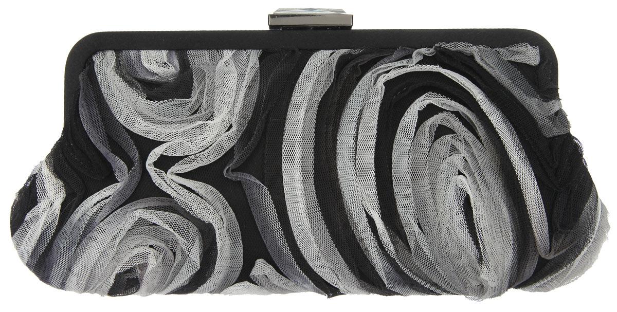 Клатч Fabretti, цвет: черный, белый. WL93204106черныеЭлегантный вечерний клатч Fabretti выполнен из полиэстера. Клатч оформлен цветами из микросетки.Изделие содержит одно отделение, закрывается на рамочный замок, дополненный граненым кристаллом. Клатч оснащен укороченным наплечным ремнем-цепочкой.Клатч Fabretti прекрасно завершит ваш праздничный образ.