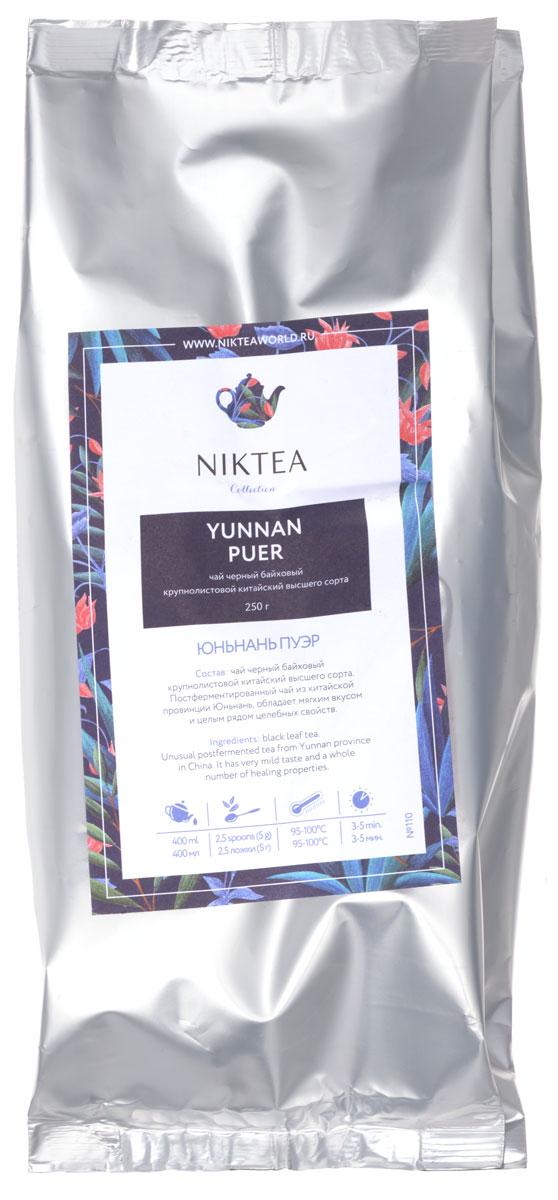 Niktea Yunnan Puer черный листовой чай, 250 гTALTHA-DP0003Niktea Yunnan Puer - постферментированный чай из китайской провинции Юньнань, обладает мягким вкусом и целым рядом целебных свойств.NikTea следует правилу качество чая - это отражение качества жизни и гарантирует: Тщательно подобранные рецептуры в коллекции топовых позиций-бестселлеров. Контролируемое производство и сертификацию по международным стандартам. Закупку сырья у надежных поставщиков в главных чаеводческих районах, а также в основных центрах тимэйкерской традиции - Германии и Голландии. Постоянство качества по строго утвержденным стандартам. NikTea - это два вида фасовки - линейки листового и пакетированного чая в удобной технологичной и информативной упаковке. Чай обладает многофункциональным вкусоароматическим профилем и подходит для любого типа кухни, при этом постоянно осуществляет оптимизацию базовой коллекции в соответствии с новыми тенденциями чайного рынка.Листовая коллекция NikTea представлена в герметичной фольгированной упаковке, которая эффективно предохраняет чай от воздействия света, влаги и посторонних запахов, обеспечивая длительное хранение. Каждая упаковка снабжена этикеткой с подробным описанием чая, его состава, а также способа заваривания.