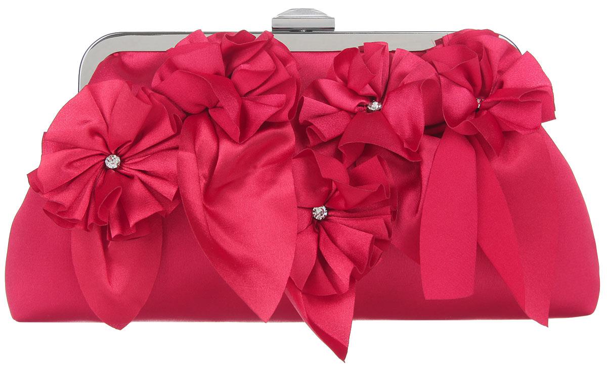 Клатч Fabretti, цвет: красный. WL8498A-B86-05-CЭлегантный вечерний клатч Fabretti выполнен из полиэстера. Клатч оформлен пятью оригинальными цветками из полиэстера, посередине украшенными стразами.Изделие содержит одно отделение, закрывается на рамочный замок, который дополнен граненым кристаллом. Клатч оснащен укороченным наплечным ремнем-цепочкой.Клатч Fabretti прекрасно завершит ваш праздничный образ.