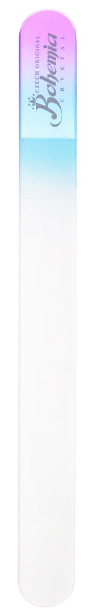 Bohemia Пилочка для ногтей, стеклянная, чехол из замши, цвет: фиолетово-голубой. 178311052Стеклянная пилочка Bohemia подходит как для натуральных, так и для искусственных ногтей. Она прекрасно шлифует и придает форму ногтям. После пользования стеклянной пилочкой ногти не слоятся и не ломаются. При уходе за накладными ногтями во время работы ее рекомендуется периодически смачивать в воде. Поверхность стеклянной пилочки не поддается коррозии.К пилочке прилагается замшевый чехол.Материал пилочки: богемское стекло.
