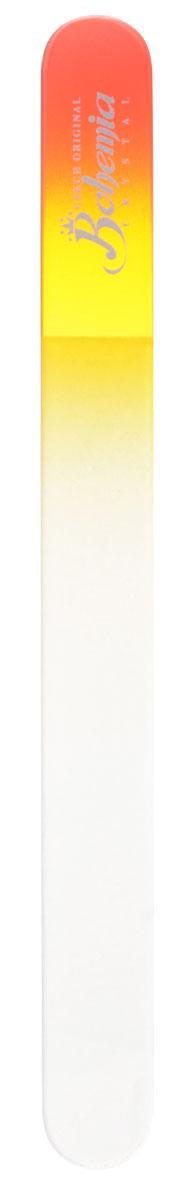 Bohemia Пилочка для ногтей, стеклянная, чехол из замши, цвет: красно-желтый. 17834er Set Ersatzrollen PHEСтеклянная пилочка Bohemia подходит как для натуральных, так и для искусственных ногтей. Она прекрасно шлифует и придает форму ногтям. После пользования стеклянной пилочкой ногти не слоятся и не ломаются. При уходе за накладными ногтями во время работы ее рекомендуется периодически смачивать в воде. Поверхность стеклянной пилочки не поддается коррозии.К пилочке прилагается замшевый чехол.Материал пилочки: богемское стекло.