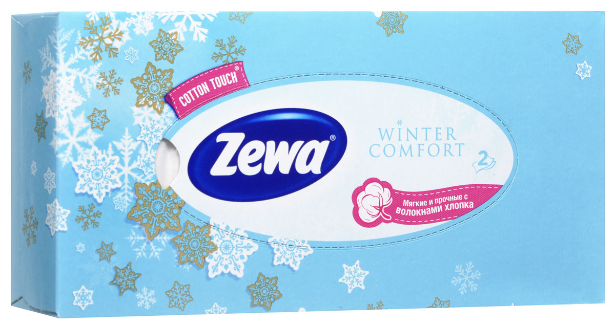 Zewa Платки косметические в коробке Winter comfort, двухслойные, цвет: голубой, 100 шт5010777139655Мягкие двухслойные гигиенические салфетки Zewa Winter comfort изготовлены из 100% целлюлозы и волокон. Обладают большой впитывающей способностью. Не вызывают аллергии, не раздражают чувствительную кожу. Просты и удобны в использовании.Товар сертифицирован.