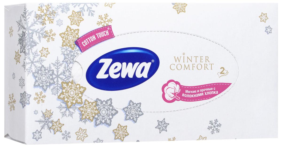 Zewa Платки косметические в коробке Winter comfort, двухслойные, цвет: белый, 100 шт6Мягкие двухслойные гигиенические салфетки Zewa Winter comfort изготовлены из 100% целлюлозы и волокон хлопка. Обладают большой впитывающей способностью. Не вызывают аллергии, не раздражают чувствительную кожу. Просты и удобны в использовании.Товар сертифицирован.