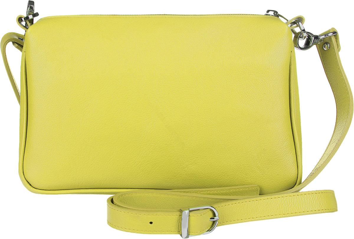 Сумка женская Fabula Every Day, цвет: салатовый. S.124.FPS76245Стильная сумка Fabula Every Day, выполнена из натуральной кожи.Изделие содержит одно основное отделение, которое закрывается на застежку-молнию. Внутри сумки размещены два накладных кармана. Изделие оснащено съемным плечевым ремнем регулируемой длины.Яркий аксессуар позволит вам завершить образ и быть неотразимой.