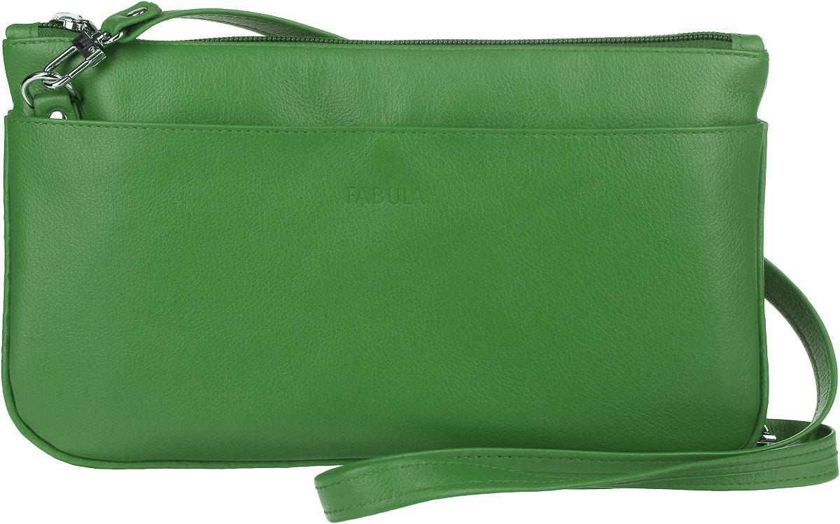 Сумка-клатч женская Fabula Every Day, цвет: зеленый. S.25.FPS76245Стильная женская сумка-клатч Fabula Every Day выполнена из натуральной кожи и дополнена тиснением с названием производителя. Изделие имеет одно отделение, закрывающееся на застежку-молнию. Внутри находится прорезной карман на застежке-молнии. Снаружи на передней и задней стенках располагаются накладные карманы на кнопках. Изделие оснащено съемным плечевым ремнем, который регулируется по длине. Сумка-клатч упакована в фирменный чехол. Стильная сумка-клатч внесет элегантные нотки в ваш образ и подчеркнет ваше отменное чувство стиля.