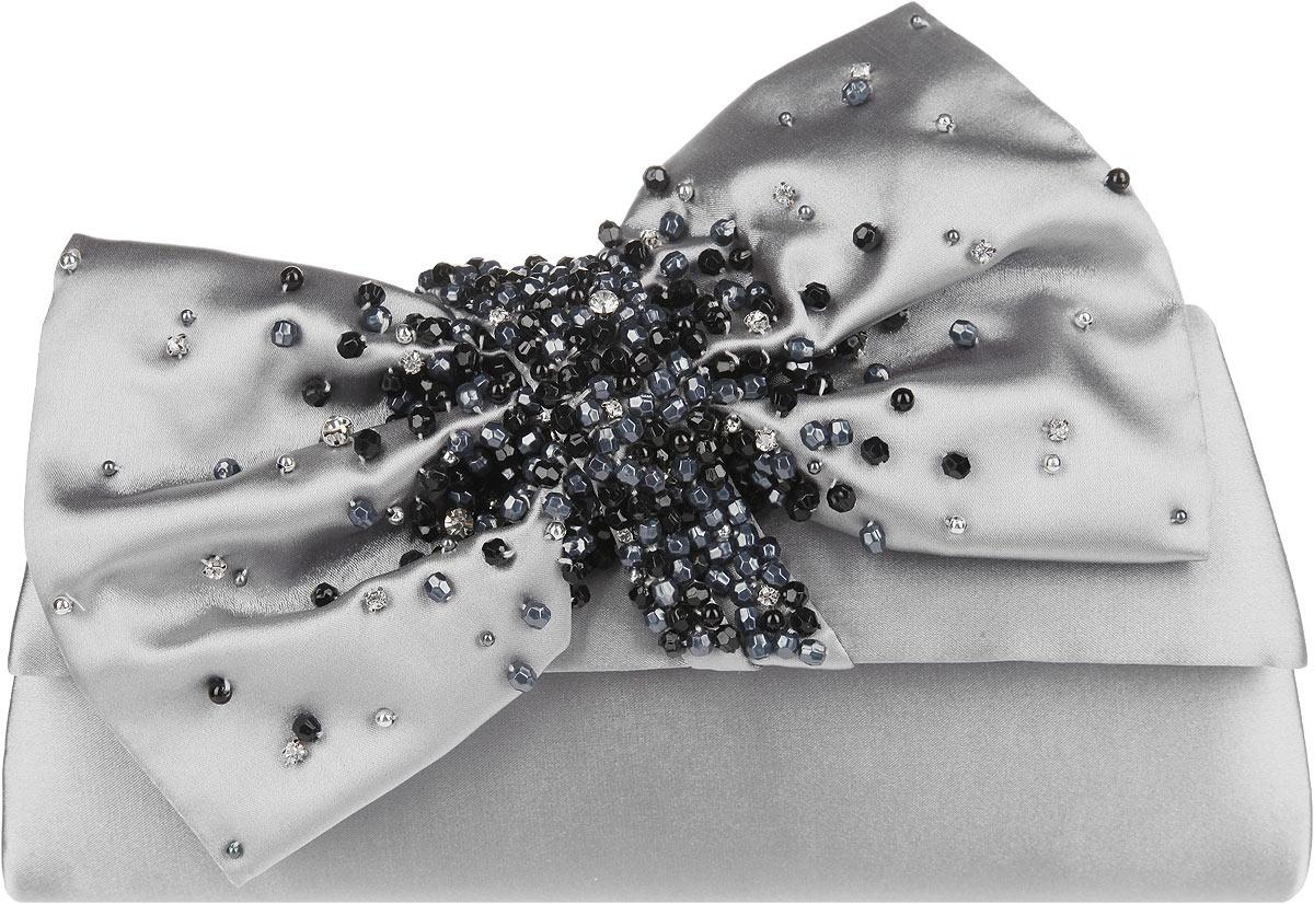 Клатч женский Eleganzza, цвет: серый. ZZ-15585B-1L39845800Стильный женский клатч Eleganzza выполнен из полиэстера. Изделие имеет одно основное отделение, внутри которого имеется открытый накладной карман. Закрывается клатч на клапан с магнитной кнопкой. Клапан оформлен декоративным текстильным бантом, украшенным стразами и бусинами.Модель оснащена плечевым ремнем в виде цепочки.Роскошный клатч внесет элегантные нотки в ваш образ и подчеркнет ваше отменное чувство стиля.