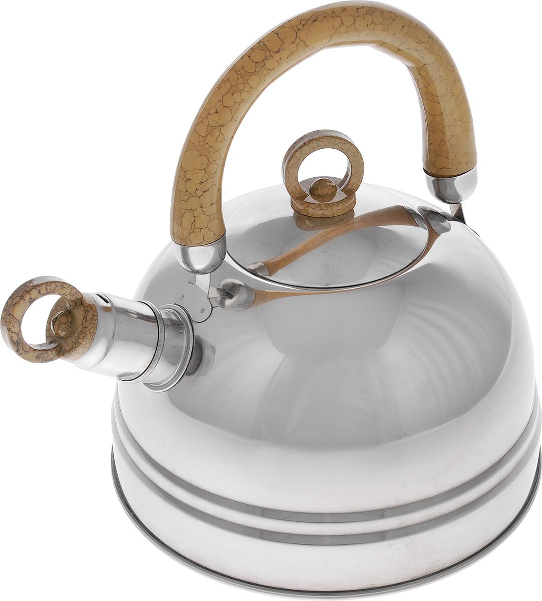 Чайник Bekker Koch, со свистком, цвет: светло-коричневый, 2,5 л. BK-S367M54 009312Чайник Bekker Koch изготовлен из высококачественной нержавеющей стали с зеркальной полировкой. Капсулированное дно распределяет тепло по всей поверхности, что позволяет чайнику быстро закипать. Эргономичная подвижная ручка выполнена из бакелита оригинального дизайна. Носик оснащен съемным свистком, который подскажет, когда вода закипела. Можно мыть мыть в посудомоечной машине.Толщина стенок: 0,4 мм.Высота чайника (без учета ручки): 12 см. Высота чайника (с учетом ручки): 22,5 см.