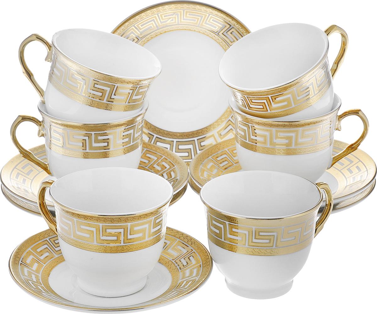 Сервиз кофейный Loraine, 12 предметов. 21598VT-1520(SR)Кофейный сервиз Loraine состоит из 6 чашек и 6 блюдец. Изделия выполнены из высококачественной керамики и украшены красивым золотистым орнаментом. Такой сервиз станет прекрасным украшением стола и порадует гостей изысканным дизайном и утонченностью. Сервиз упакован в круглую подарочную коробку, задрапированную внутри белой атласной тканью. Объем чашки: 80 мл. Диаметр чашки (по верхнему краю): 6,5 см. Высота чашки: 5 см. Диаметр блюдца: 11 см.