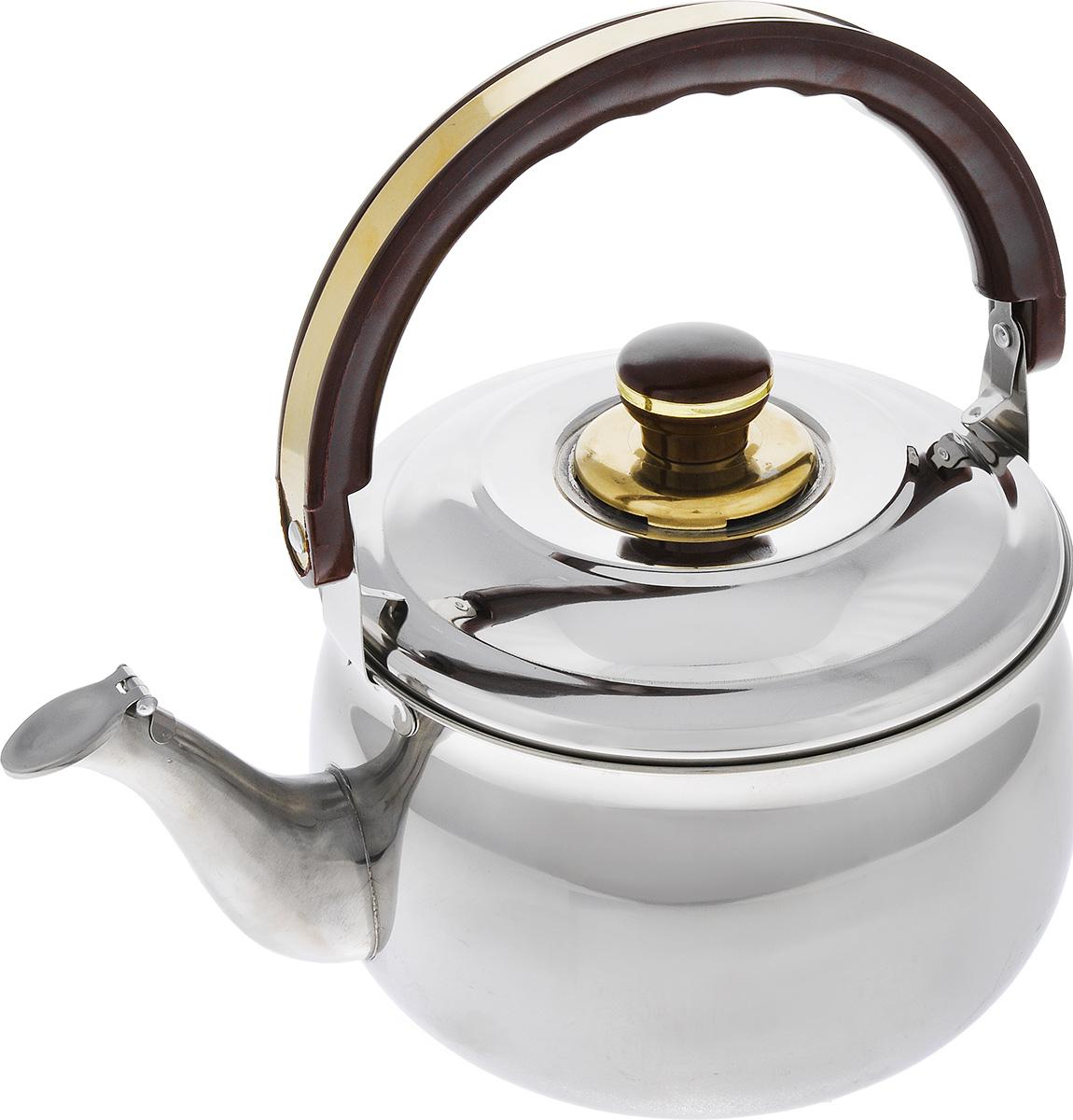 Чайник Mayer & Boch, со свистком, 4 л. 103754 009305Чайник Mayer & Boch выполнен из высококачественной нержавеющей стали 18/10, что делает его весьма гигиеничным и устойчивым к износу при длительном использовании. Капсулированное дно с прослойкой из алюминия обеспечивает наилучшее распределение тепла. Крышка чайника оснащена свистком, что позволит вам контролировать процесс подогрева или кипячения воды. Подвижная ручка чайника изготовлена из бакелита. Подходит для газовых, электрических и стеклокерамических плит. Не подходит для индукционных плит. Высота чайника (без учета ручки и крышки): 12,5 см.Высота чайника (с учетом ручки и крышки): 26,5 см.Диаметр чайника (по верхнему краю): 19 см.