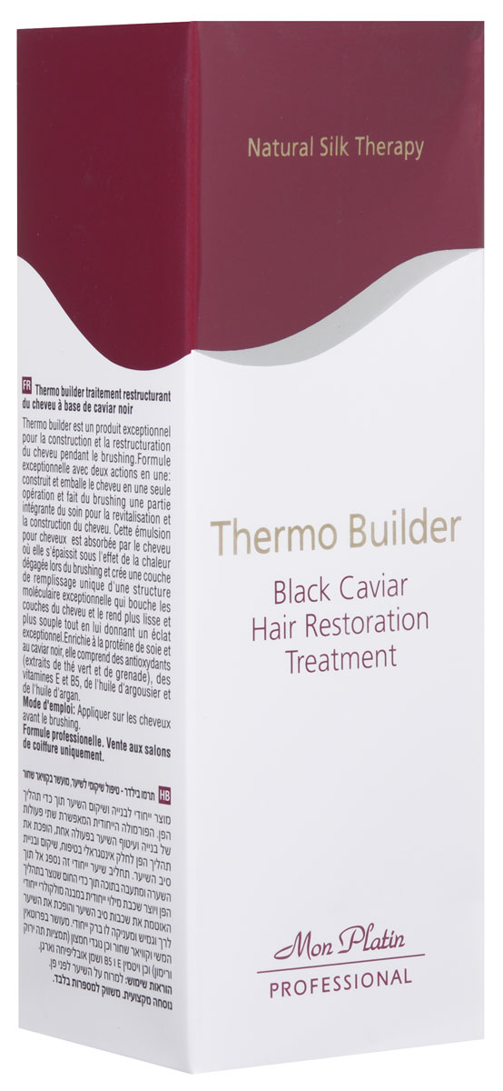 Mon Platin Professional Средство для восстановительного ухода за волосами с добавкой черной икры Термо Билдер 200млFS-00897Термо билдер – это средство для укрепления и восстановления волос во время укладки феном или использования утюжка. Рецептура помогает сочетать две процедуры – она укрепляет волосы и обволакивает их защитным слоем, тем самым превращая процесс применения фена или разглаживания волос в процесс, сочетающий в себе восстановление и укрепление волос. Эта эмульсия для волос проникает вглубь волоса и сгущается внутри него благодаря генерируемому феном теплу, создавая таким образом уникальный заполняющий слой с необычной молекулярной структурой, обволакивающий волосы, делающий их гладкими и эластичными и придающий им потрясающий блеск. Обогащено протеином шелка, черной икрой и антиоксидантами (экстрактами зеленого чая и граната), а также витаминами Е и В5, облепиховым и аргановым маслами.
