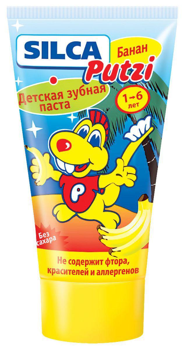 Silca Putzi Зубная паста Банан от 1 до 6 лет 50 мл4630003365187Детская зубная паста Silca Putzi с нежным банановым вкусом и запахом, несомненно, порадует вашего ребенка. Низкая абразивность пасты делает ее абсолютно безопасной для неокрепшей детской эмали. Специально разработанный комплекс не травмирует желудок при случайном проглатывании. Паста не содержит сахара. Специально разработанная низкоабразивная рецептура на основе диоксида кремния нежно очищает неокрепшую эмаль детских зубов. Не содержит фтора, красителей, лаурилсульфата натрия, ментола и сахара. Рекомендуется для обучения детей чистке зубов и для регионов с повышенным содержанием фтора в воде. Вкус банана превращает процедуру чистки зубов в настоящее удовольствие.Товар сертифицирован.