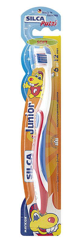 Silca Putzi Зубная щетка мягкая Junior от 6 до 12 лет160Укороченная головка щетки с разноуровневой мягкой щетиной и широкой мягкой окантовкой обеспечивает бережный уход за зубами и деснами.Силовой выступ предназначен для очищения межзубных промежутков и труднодоступных мест.Короткие щетинки основного чистящего поля эффективно удаляют налет с жевательных поверхностей.Удлиненные наклонные внешние щетинки очищают гладкие поверхности, десневой желобок и мягко массируют десны.Абсолютно закругленная щетина не травмирует десны. При производстве щетины используется высококачественное волокно Tynex компании DuPont.Удобная трехкомпонентная ручка с мягким упором для большого пальца, нескользящим покрытием и закругленным кончиком.