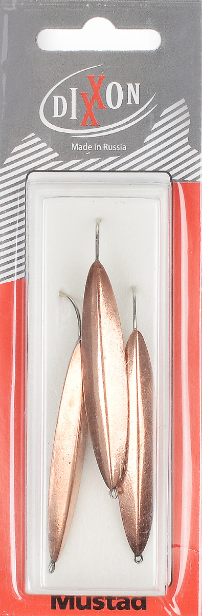 Блесна зимняя Dixxon Старорусская, цвет: медный, 9,6 г, 3 шт54050Блесна зимняя Dixxon Старорусская - это классическая вертикальная блесна. Выполнена из высококачественного металла. Блесна предназначена для отвесного блеснения рыбы. Оснащена впаянным одинарным крючком.