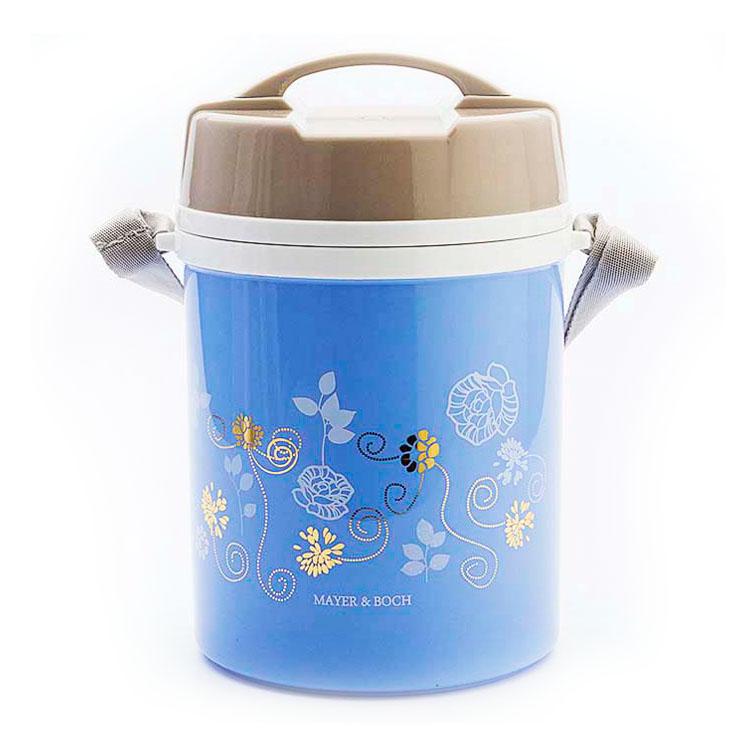 Термос пищевой Mayer & Boch, цвет: голубой, серый, 1,8 лVT-1520(SR)Пищевой термос Mayer & Boch пригодится в любой ситуации: будь то экстремальный поход, пикник, поездка, или вы просто хотите взять с собой домашнюю еду в офис. Корпус термоса, выполненный из цветного пищевого полипропилена, декорирован цветочным узором. На крышке для удобства переноски предусмотрена ручка и ремень. Колба термоса изготовлена из прочной нержавеющей стали, которая устойчива к механическим повреждениям, она не разобьется при падении и не треснет от резкого перепада температуры. В широкое горлышко термоса помещены три контейнера с крышками, изготовленные из пищевого полипропилена. Крышки легко открываются и плотно закрываются с помощью легкого щелчка. В комплекте также предусмотрена ложка, которая хранится в специальном отверстии в крышке.Термос Mayer & Boch - это идеальный вариант для переноски нескольких разных блюд. В него поместится все необходимое, и вы в любое время сможете вкусно и быстро пообедать.Диаметр термоса (по верхнему краю): 13 см. Высота термоса (без учета крышки): 20,5 см.Диаметр контейнеров: 12 см. Высота контейнеров: 6 см. Длина ложки: 12 см.