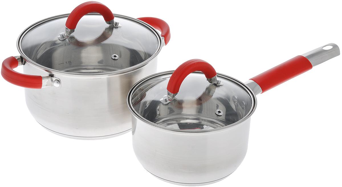 Набор посуды Walmer Stratford, 4 предметаVS-2239Набор посуды Walmer Stratford состоит из кастрюли и ковша с крышками, выполненных из нержавеющей стали. Изделия имеют трехслойное дно с алюминиевой сердцевиной, благодаря которому пища не пригорает. Ручка ковша и крышек оснащены силиконовыми вставками. Крышки выполнены из жаропрочного стекла и оснащены ободом из нержавеющей стали и отверстием для выхода пара. Внутри изделий имеются мерные деления.Набор посуды Walmer Stratford не только станет незаменимым помощником в приготовлении ваших любимых блюд, но и стильно оформит интерьер кухни. Можно использовать на газовых плитах, не подходит для индукционных плит. Можно мыть в посудомоечной машине.Объем кастрюли: 3,4 л. Высота стенки кастрюли: 12 см.Ширина кастрюли (с учетом ручек): 28,5 см. Диаметр кастрюли (по верхнему краю): 21,5 см.Объем ковша: 1,8 л. Высота стенки ковша: 9,6 см.Диаметр ковша (по верхнему краю): 17,5 см.Длина ручки ковша: 16,6 см. Толщина стенок посуды: 0,6 мм.Толщина дна посуды: 2 мм.