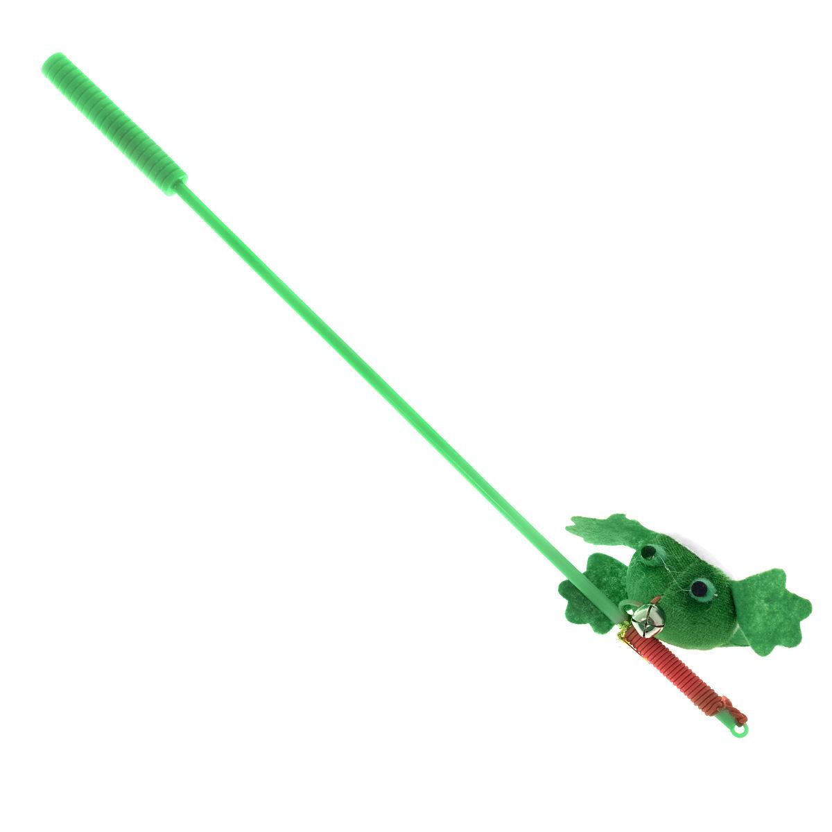 Игрушка для кошек V.I.Pet Дразнилка-удочка с лягушкой, с колокольчиком, цвет: зеленый, длина 37 смST-105 /12/_зеленыйИгрушка для кошек V.I.Pet Дразнилка-удочка с лягушкой, изготовленная из текстиля, синтепона и пластика, прекрасно подойдет для веселых игр с вашим пушистым любимцем. Играя с этой забавной дразнилкой, маленькие котята развиваются физически, а взрослые кошки и коты поддерживают свой мышечный тонус. Яркая игрушка на конце удочки оснащена колокольчиком и сразу привлечет внимание вашего любимца, не навредит здоровью и увлечет его на долгое время. Длина удочки: 37 см.Размер игрушки: 7,5 х 4 х 2,5 см.