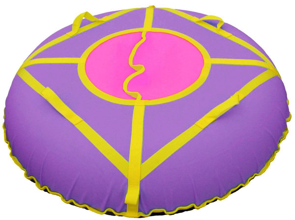 Тюбинг Super Jet Tubing Ultra, цвет: фиолетовый, желтый, розовый, диаметр 105 смАрт2121123001823Тюбинг для взрослых Super Jet Tubing Ultra предназначен для зимнего катания.Центральный сектор защищает от попадания снега внутрь тюбинга и состоит из двух частей внахлест без дополнительных застежек.Верхняя часть изготовлена из водонепроницаемого материала Oxford 600D из полиамидных волокон с полиуретановой пропиткой и обладает высокой стойкостью к истиранию, сохраняя гибкость и легкость. Нижняя часть изготавливается из прочного южнокорейского тентового ПВХ плотностью 650 г/м2. Этот материал при достаточной плотности и стойкости к истиранию, обладает великолепными скользящими свойствами.Конструкция этой модели усилена с помощью 8 нейлоновых лент шириной 3 см, на которых расположены 4 мягкие нейлоновые ручки и 2 петли для крепления буксировочной ленты. Прилагается буксировочная нейлоновая лента шириной 3 см и длиной 1,2 метра из нейлона с двумя петлями по концам для крепления к тюбингу.Диаметр чехла в сдутом состоянии: 120 см.Диаметр тюбинга в надутом состоянии: 105 см.В комплекте усиленная камера из эластичной резины размером 9.0-20.Швы закрыты нейлоновой лентой для увеличения прочности на разрыв.Материал верхней части: водонепроницаемая ткань Oxford 600D PU. Материал нижней части: тентовый ПВХ плотностью 650 г/м2. Материал строп: нейлон. Материал камеры: резина.
