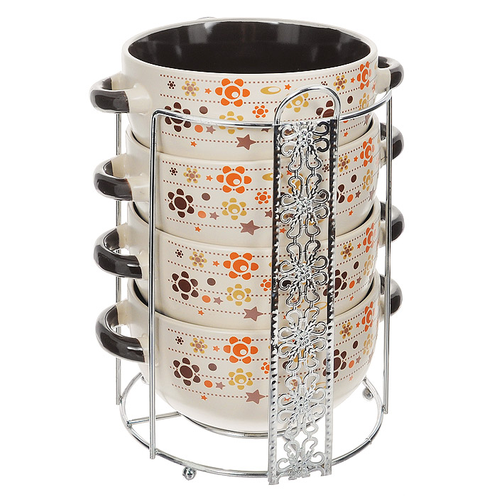 Набор супниц Loraine, 5 предметов115610Набор Loraine включает в себя четыре супницы, выполненные из высококачественной керамики. Набор прекрасно подходит для подачи супов, бульонов и других блюд. Элегантный дизайн с разнообразными узорами отлично впишется в интерьер любой кухни.Супницы компактно размещаются на подставке из хромированного металла с резными вставками по бокам.Посуду можно использовать в микроволновой печи и холодильнике, а также мыть в посудомоечной машине.Объем супниц: 520 мл.Диаметр супниц по верхнему краю: 13,3 см.Диаметр дна супниц: 6,5 см.Высота супниц: 6,8 см.Размер подставки: 16 х 14,5 х 20 см.