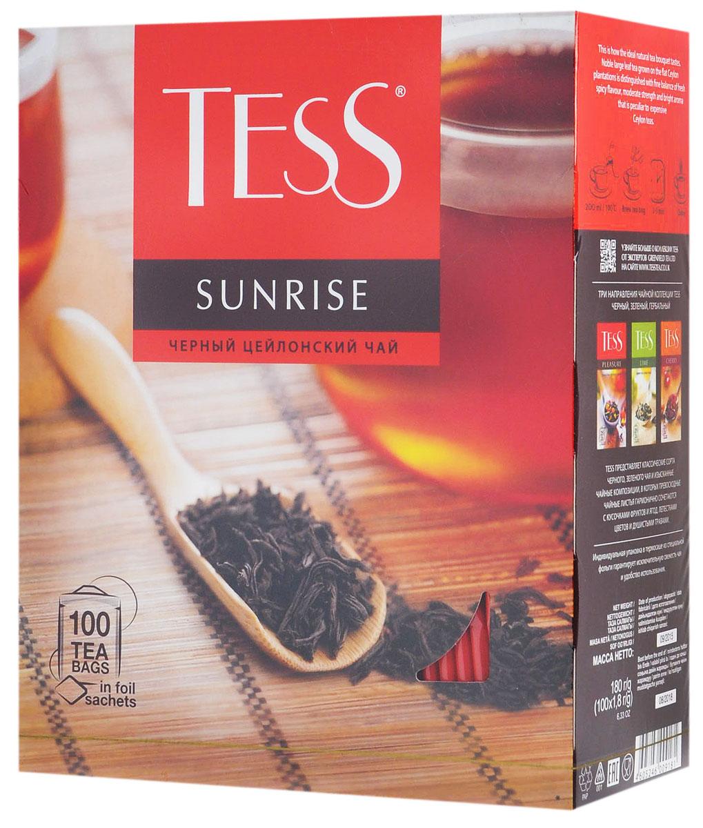 Tess Sunrise черный чай в пакетиках, 100 шт0120710Черный байховый цейлонский чай Tess Sunrise отличается необыкновенно насыщенным ярким вкусом и тонким, очень приятным ароматом, свойственным цейлонским чаям.