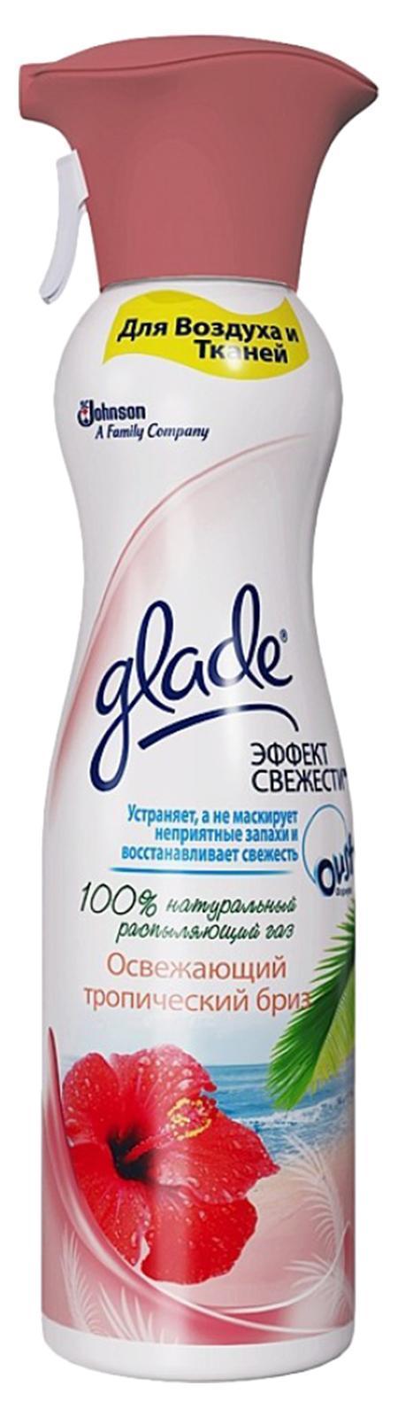 Освежитель воздуха Glade Тропический Бриз, эффект свежести для воздуха и тканей, 275 мл106-026Содержит 100% натуральный распыляющий газ. Устраняет,а не маскирует неприятный запахи и восстанавливает свежесть. Имеет большую линейку восхитительный ароматов. Имеет премиальный внешний вид и может быть использован в любом жилом помещении. Подходит для воздуха и тканей.