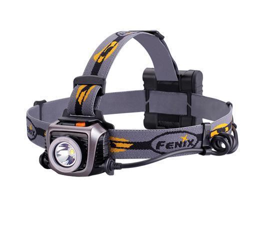 Фонарь налобный Fenix HP15 UE серыйHP15UEFenix HP15 UE - это налобный фонарь с отдельно вынесенным батарейным отсеком. Осветительное устройство ориентировано на туристов, спортсменов, велосипедистов, охотников, рыбаков. Благодаря сбалансированному распределению веса и возможности оставить руки пользователя свободными, использовать фонарь будет удобно как во время обычного отдыха за городом, так и в экстремальных экспедициях.За яркий свет в фонаре отвечает встроенный светодиод Cree XM-L2 (U2). Это долговечный полупроводниковый прибор производства американской компании Cree, который способен проработать не менее 50 000 ч. Максимальная яркость светового потока, которую может предложить фонарь Fenix HP15 UE, - 900 люмен. Именно таким характеристикам соответствует режим Burst. К этому режиму предусмотрен быстрый доступ из любого другого. Его можно активировать оранжевой кнопкой на головной части устройства даже тогда, когда фонарь выключен. Но проработает Burst всего 30 с и деактивируется, т.к. более длительное его использование ведет к перегреванию осветительного прибора.Для решения стандартных задач предусмотрены 4 обычных режима яркости: High - 400 люмен; Mid - 150 люмен; Low - 50 люмен; Eco - 10 люмен. Переключение между ними осуществляется при помощи той же кнопки, которая отвечает за включение/выключение фонаря. А нажатие на эту кнопку в течение 3 секунд приводит к активации мигающего режима SOS с яркостью света 50 люмен.Батарейный отсек Fenix HP15 UE - наружный и рассчитан на 4 щелочные батареи размера АА или же Ni-Mh аккумуляторы такого же формата. Смешивать эти два вида элементов питания запрещено, но от того, какие из них будут выбраны, зависит время работы осветительного устройства в разных режимах. Для щелочных батарей эти данные следующие:High - 3 ч, 10 мин; Mid - 8 ч; Low - 44 ч; Eco - 170 ч. Аккумуляторы лучше себя зарекомендовали при работе ярких режимов, но быстрее садятся при использовании экономного света:High - 3 ч, 30 мин; Mid - 10 ч; Low - 40 ч; Eco