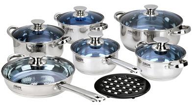 Набор кухонной посуды Calve, цвет: серебристый, 13 предметов115510Набор кухонной посуды Calve состоит из сковороды, четырех кастрюль, сотейника и бакелитовой подставки. Предметы набора выполнены из нержавеющей стали. Кастрюли, сковорода и сотейник имеют крышки. Изделия имеют удобные ручки эргономичной формы. Надежное крепление ручки гарантирует безопасность использования.Комбинированная крышка из высококачественной нержавеющей стали и жаропрочного стекла позволяет следить за процессом приготовления, не открывая крышки. Специальное отверстие для выхода пара позволяет готовить с закрытой крышкой, предотвращая выкипание. Бакелитовая подставка позволит без опасения поставить изделие на любую поверхность.Зеркальная полировка придает посуде стильный внешний вид. Подходят для газовых, электрических, стеклокерамических и галогенных плит. Можно мыть в посудомоечной машине и использовать в духовом шкафу. В набор входят:- кастрюля с крышкой, диаметр 24 см, объем 4,75 л.,- кастрюля с крышкой, диаметр 20 см, объем 3 л.,- кастрюля с крышкой, диаметр 18 см, объем 2 л.,- кастрюля с крышкой,диаметр 16 см, объем 1,5 л.,- сотейник с крышкой, диаметр 16 см, объем 1,5 л.,- сковорода с крышкой, диаметр 24 см,- подставка.