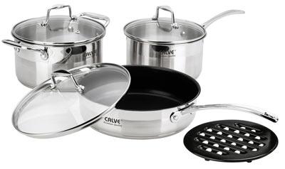 Набор кухонной посуды Calve, с подставкой, 7 предметов. CL-108968/5/4Набор Calve состоит из кастрюли, сотейника, сковороды с крышками и бакелитовой подставки. Изделия изготовлены из высококачественной нержавеющей стали. Матовая полировка придает посуде безупречный внешний вид.Благодаря уникальной конструкции дна, тепло, проходя через металл, равномерно распределяется по стенкам посуды. Для приготовления пищи в такой посуде требуется минимальное количество масла, тем самым уменьшается риск потери витаминов и минералов в процессе термообработки продуктов. Крышки выполнены из жаростойкого прозрачного стекла и нержавеющей стали, оснащены ручкой и отверстием для выпуска пара. Такие крышки позволяют следить за процессом приготовления пищи без потери тепла. Они плотно прилегают к краю и сохраняют аромат блюд. Бакелитовая подставка позволит без опасения поставить кастрюлю на любую поверхность.Подходит для всех типов плит, включая индукционные. Можно мыть в посудомоечной машине.Объем кастрюли: 3,4 лДиаметр кастрюли: 20 смОбъем сотейника: 2,5 л Диаметр сотейника: 18 см Объем сковороды: 2,9 л Диаметр сковороды: 24 см.