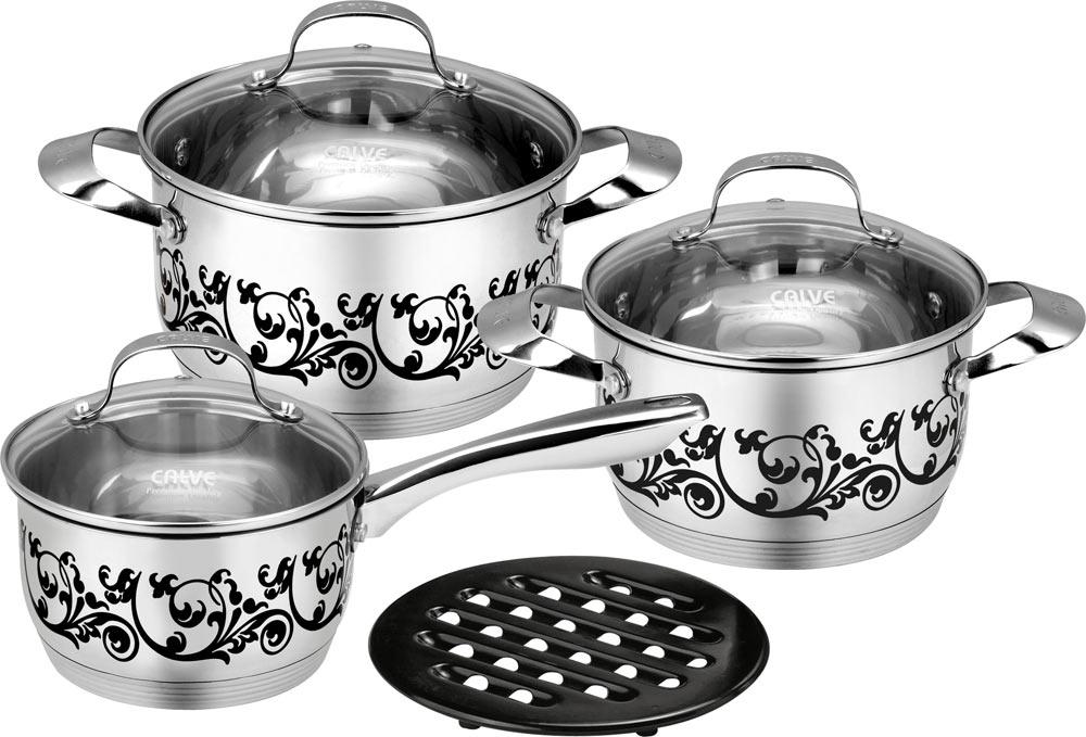 Набор кухонной посуды Calve, 7 предметов. CL-187554 009312Набор кухонной посуды Calve состоит из сотейника, двух кастрюль, 3 крышек и бакелитовой подставки. Предметы набора выполнены из нержавеющей стали. Изделия имеют удобные ручки эргономичной формы. Надежное крепление ручки гарантирует безопасность использования.Комбинированная крышка из высококачественной нержавеющей стали и жаропрочного стекла позволяет следить за процессом приготовления, не открывая крышки. Специальное отверстие для выхода пара позволяет готовить с закрытой крышкой, предотвращая выкипание. Бакелитовая подставка позволит без опасения поставить изделие на любую поверхность.Изделия имеют эксклюзивный термосенсор. При нагревании, рисунок на изделиях меняет цвет.Зеркальная полировка придает посуде стильный внешний вид. Подходят для всех видов плит, включая индукционные. Можно мыть в посудомоечной машине и использовать в духовом шкафу. В набор входят:- кастрюля с крышкой, диаметр 18 см, объем 1,7 л,- кастрюля с крышкой, диаметр 20 см, объем 2,4 л,- сотейник с крышкой, диаметр 16 см, объем 1,7 см,- подставка.