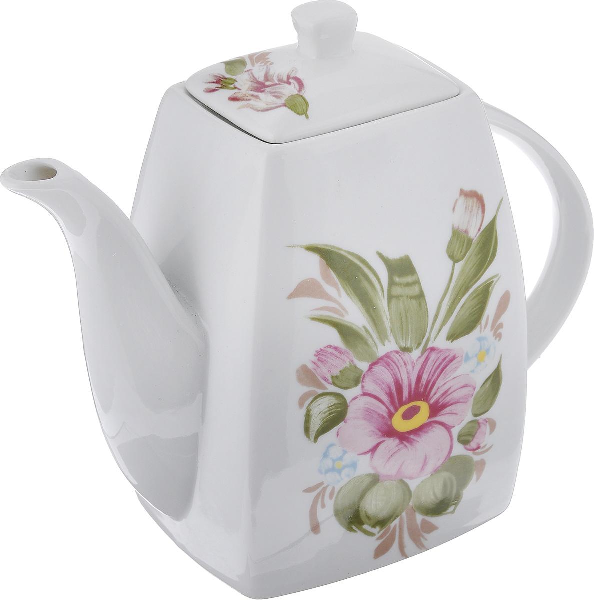 Чайник заварочный Loraine, 1 л. 21175VT-1520(SR)Заварочный чайник Loraine поможет вам в приготовлении вкусного и ароматного чая, а также станет украшением вашей кухни. Он изготовлен из керамики и оформлен красочным изображением. Яркий цветочный рисунок придает чайнику особый шарм, он удобен в использовании и понравится каждому. Такой заварочный чайник станет приятным и практичным подарком на любой праздник.Размер чайника по верхнему краю: 8,2 см х 6,5 см.Размер дна: 11 см х 9 см.Высота чайника без учета крышки: 15,5 см.