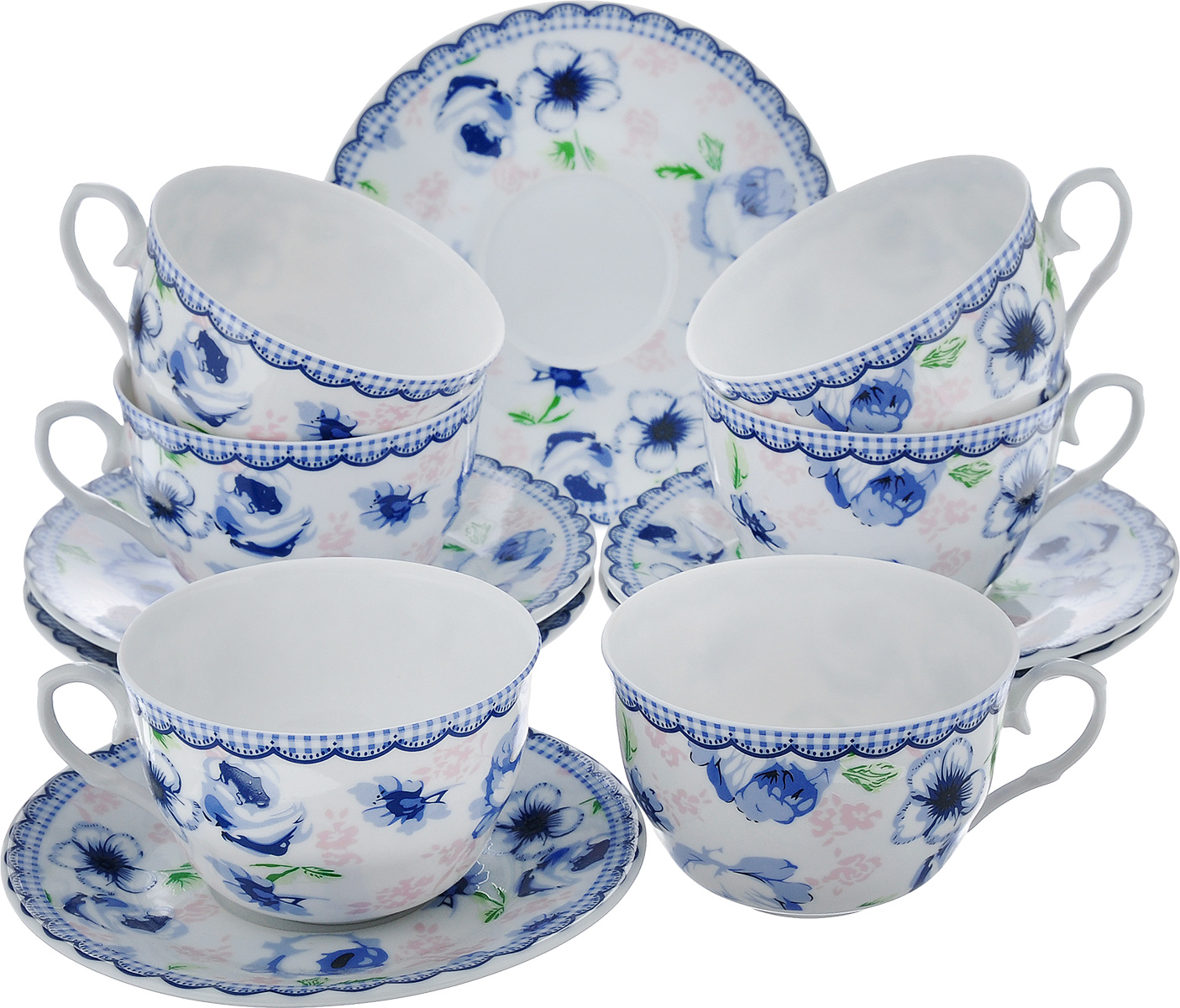 Чайный набор LarangE Кантри, цвет: белый, синий, 12 предметовVT-1520(SR)Чайный набор LarangE Кантри состоит из шести чашек и шести блюдец,изготовленных из фарфора. Предметы набора оформленыизящным ярким рисунком.Чайный набор LarangE Кантри украсит ваш кухонный стол, а такжестанет замечательным подарком друзьям и близким.Объем чашки: 250 мл.Диаметр чашки по верхнему краю: 9 см.Высота чашки: 6 см.Диаметр блюдца: 14,5 см.