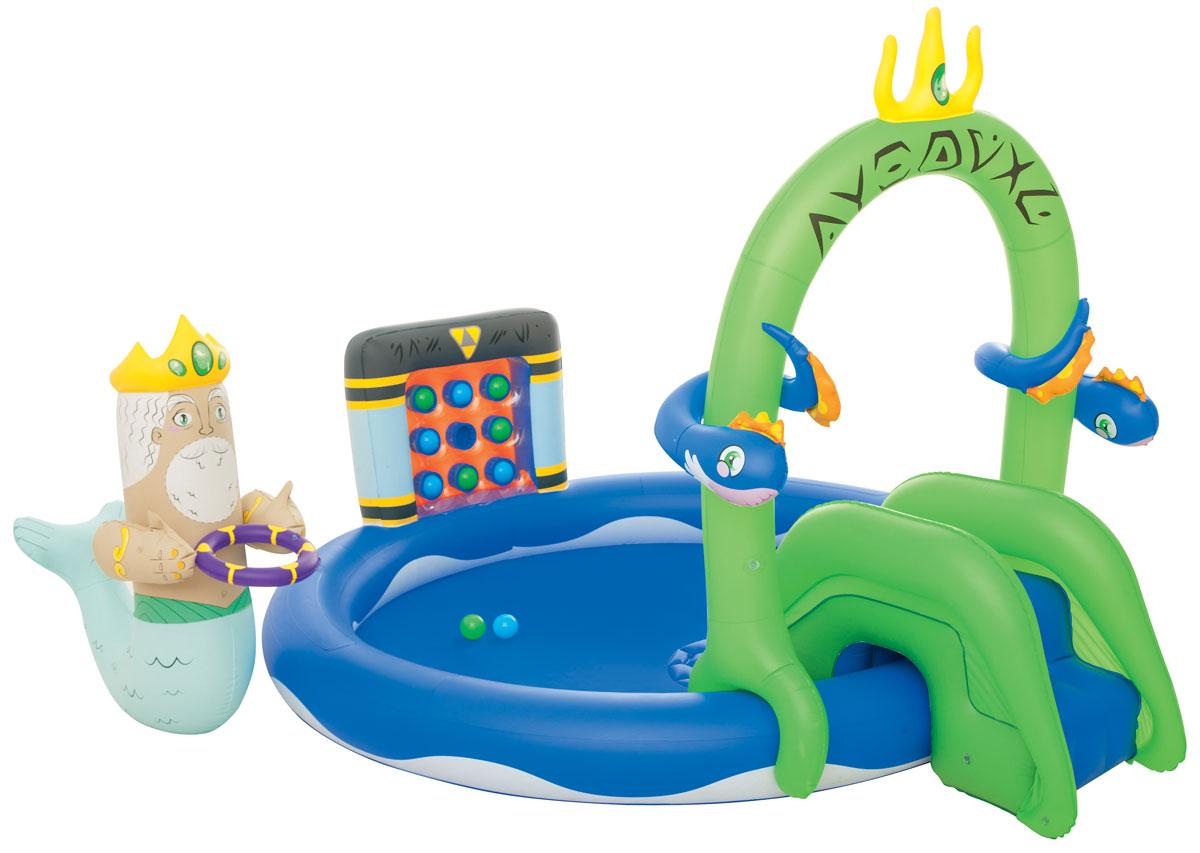 Bestway Бассейн надувной игровой Подводное царство. 5305753057Надувной игровой бассейн Bestway Подводное царство - идеальное развлечение для малышей в жаркую летнюю погоду на свежем воздухе.Бассейн изготовлен из прочного и испытанного винила и имеет предохранительные клапаны. Разбрызгиватель, находящийся на бассейне, присоединяется к садовому шлангу, а съемная горка привязывается шнуром. Для большего комфорта на дне находится надувная подушка, а съемные король и дракон - настоящее развлечение для детей! Вода из бассейна спускается с помощью простого в использовании сливного клапана.В комплект также входит ремонтная заплата на случай прокола.Надувной бассейн подарит много положительных эмоций вашему малышу.Расчетный объем бассейна: 230 литров.