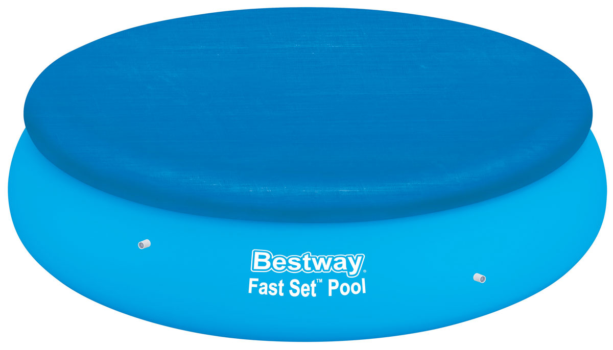 Bestway Тент для бассейнов с надувным бортом, диаметр 267 см. 58032C0038550Тент Bestway подходит для бассейнов Fast Set диаметром 244 см. Выполнен из высококачественного полиэтилена. В комплекте шнуры для крепления крышки. Сливные отверстия предотвращают скопление воды.Диаметр тента: 267 см.Диаметр бассейна: 244 см.