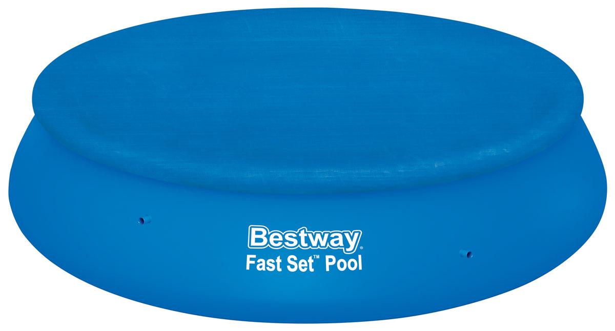 Bestway Тент для бассейнов с надувным бортом, диаметр 380 см. 5803454135Тент Bestway подходит для бассейнов Fast Set диаметром 366 см. Выполнен из высококачественного полиэтилена. В комплекте шнуры для крепления крышки. Сливные отверстия предотвращают скопление воды.Диаметр тента: 380 см.Диаметр бассейна: 366 см.