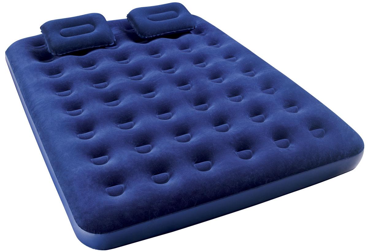 Bestway Матрас надувной, с ручным насосом и 2 подушками, 203 х 152 х 22 см. 6737467374Комфортное флоксовое покрытие. Подходит для использования в помещении и на улице. В комплекте ручной насос, 2 надувные подушки, заплатка для ремонта. Время надувания матраса около 200 сек. Изготовлено из полимерных материалов. Размер матраса: 2,03 х 1,52 х 0,22 м.