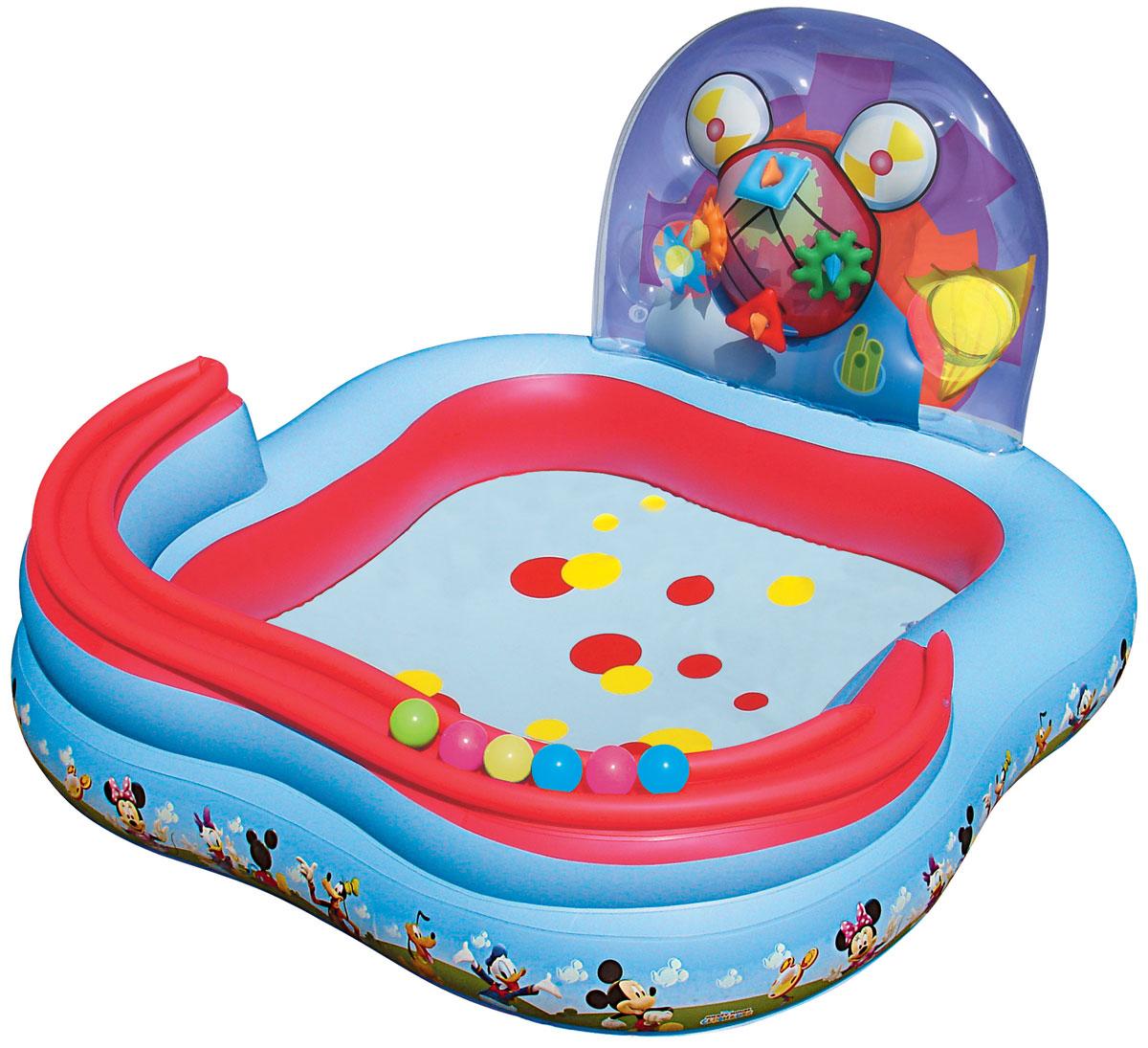 Bestway Игровой бассейн, с принадлежностями для игр. 91015B91015BДетский надувной игровой бассейн Bestway Mickey Mouse ClubHouse - идеальное летнее развлечение, которое надолго завладеет вниманием ребенка.Бассейн изготовлен из прочного и испытанного винила, имеет предохранительные клапаны. В комплект к бассейну входят 4 надувных кольца, 6 мячей для игры, надувная горка для катящихся мячиков. Оформлен бассейн изображениями Микки Мауса и его друзей. Это отличный отдых для всех детей!В комплект также входит специальная заплата для ремонта изделия в случае прокола.Расчетный объем бассейна: 151 литр.