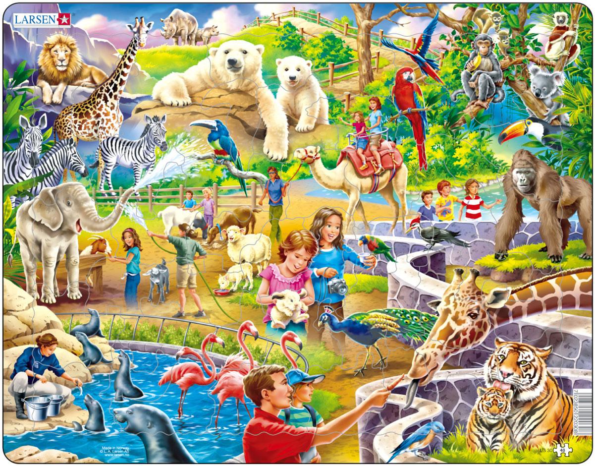 """Пазл Larsen """"Зоопарк"""" станет отличным развлечением для вашего ребенка. Пазл позволит ребенку в интересной игровой форме собрать красочную картинку с животными и посетителями зоопарка. Выполненные из высококачественного трехслойного картона, пазлы Larsen не деформируются. Все пазлы снабжены специальной подложкой, благодаря чему их удобно собирать. Игра с пазлами благоприятно влияет на развитие ребенка. Веселая игра сопровождается манипуляциями с мелкими предметами, сопоставлением и сложением деталей, в результате чего развивается сенсорное восприятие и мелкая моторика. Порадуйте своего малыша таким замечательным подарком!"""