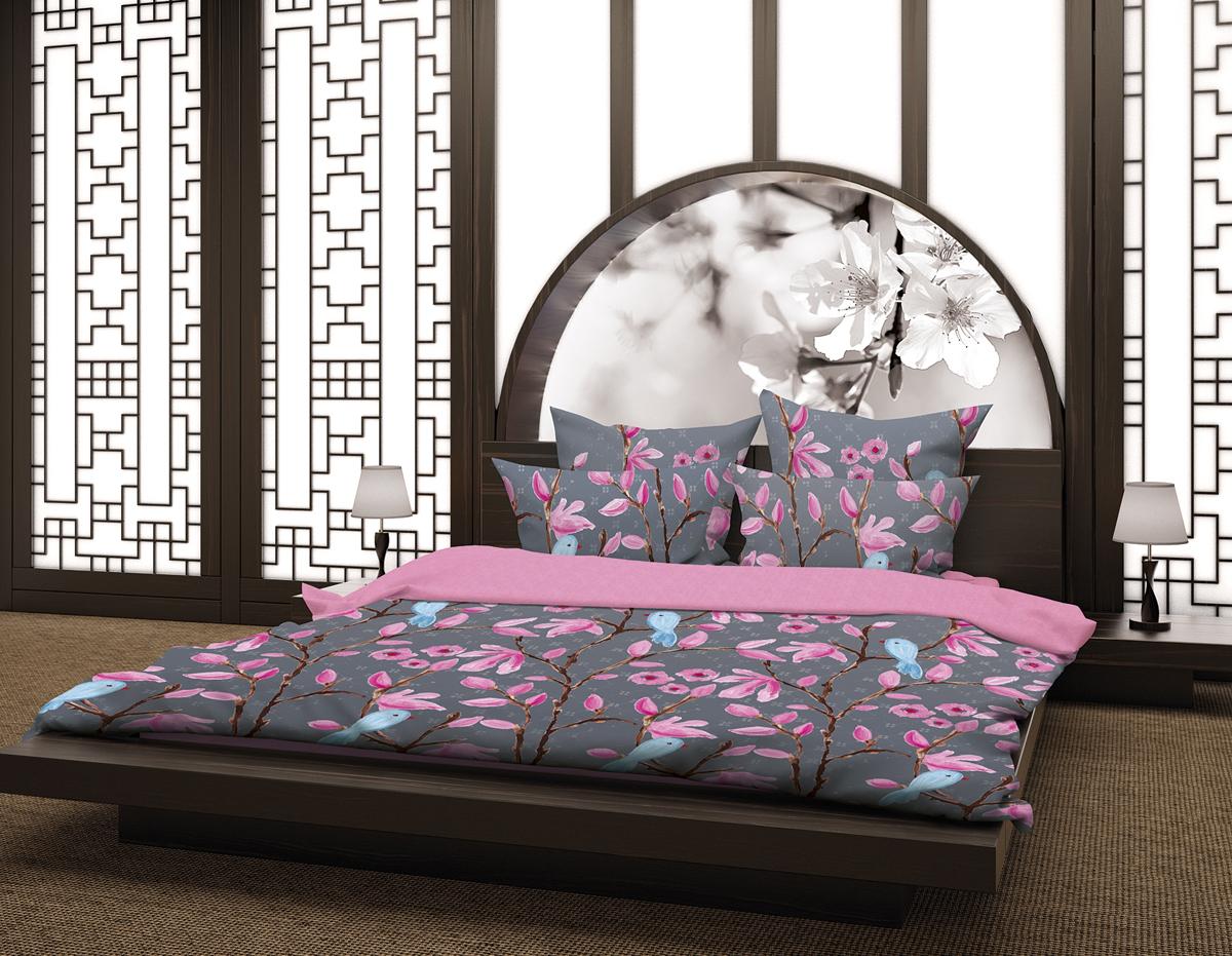 Комплект белья Волшебная ночь Магнолия, 2-спальный, наволочки 70х70 и 40х40, цвет: серый, розовый. 188420188420Комплект белья Волшебная ночь Магнолия состоит из пододеяльника, простыни, двух наволочек на спальные подушки и двух наволочек на подушки-думочки. Комплект выполнен из сатина - плотной ткани с мягким грифом. Изделия оформлены красивым рисунком в стиле этно, который сделает спальню модной и стильной. Сатин - это натуральная ткань, которая производится из хлопкового волокна. Полотно этого материала весьма приятное на ощупь. Кроме этого, его отличие состоит в своеобразном блеске. Сатин обладает высокой прочностью и стойкостью к выцветанию, выдерживает большое количество стирок. Рекомендации по уходу: - Машинная и ручная стирка при температуре 60°C,- Не отбеливать, - Гладить при высокой температуре, - Сушить в стиральной машине при средней температуре, - Химчистка запрещена.