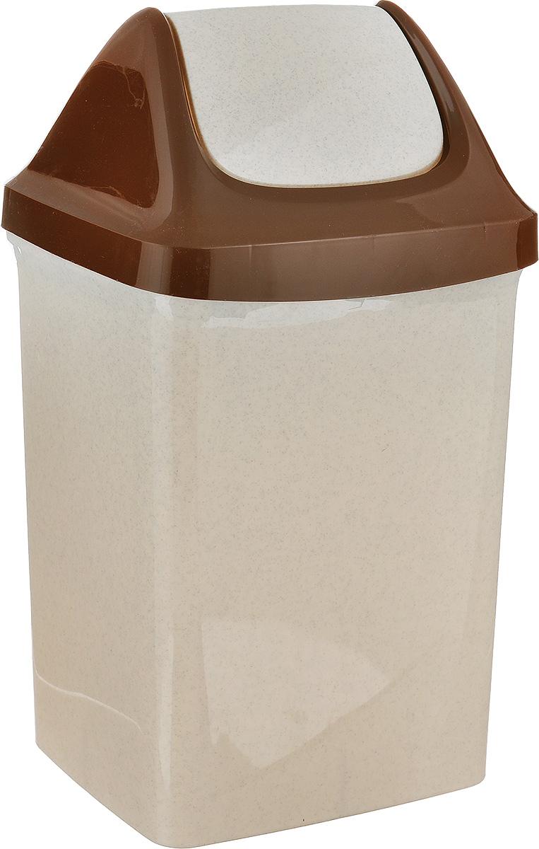 Контейнер для мусора Idea Свинг, цвет: бежевый, коричневый, 9 л68/5/1Контейнер для мусора Idea Свинг изготовлен из прочного полипропилена (пластика). Контейнер снабжен удобной съемной крышкой с подвижной перегородкой. Благодаря лаконичному дизайну такой контейнер идеально впишется в интерьер и дома, и офиса.