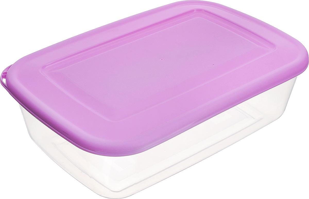 Контейнер Бытпласт, цвет: прозрачный, фиолетовый, 3,4 лVT-1520(SR)Контейнер Бытпласт, изготовленный из пищевого пластика, предназначен специально для хранения пищевых продуктов. Крышка легко открывается и плотно закрывается.Контейнер устойчив к воздействию масел и жиров, легко моется. Прозрачные стенки позволяют видеть содержимое. Можно использовать в микроволновой печи только для разогрева пищи и без крышки, подходит для хранения пищи в холодильнике. Можно мыть в посудомоечной машине.