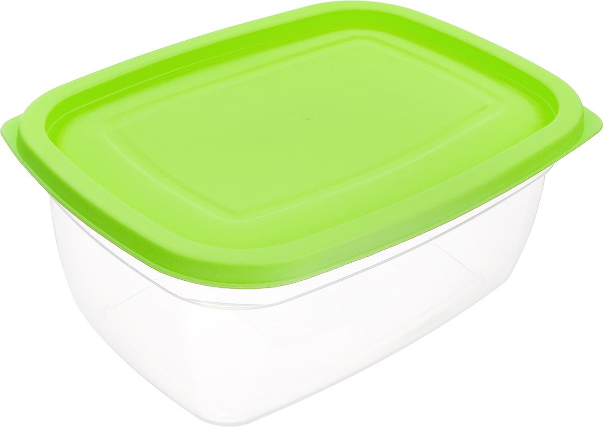 Контейнер Dunya Plastik, цвет: прозрачный, салатовый, 2,5 л контейнер dunya plastik цвет синий прозрачный 2 20 л