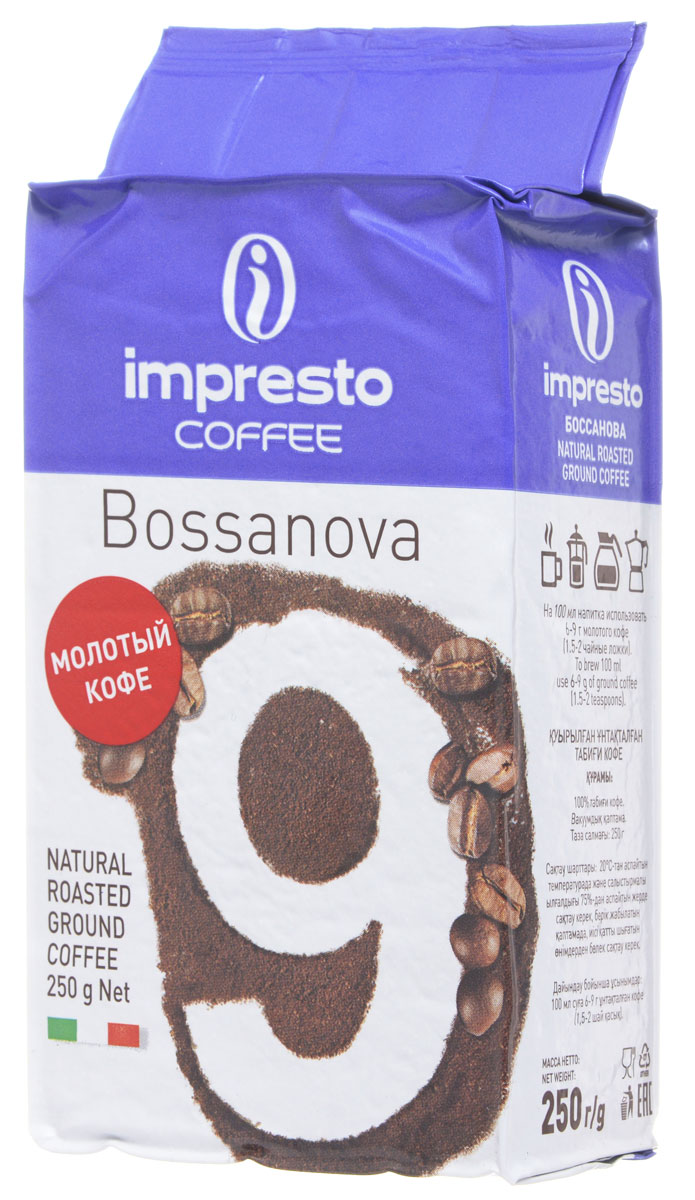Impresto Bossanova кофе молотый, 250 г4260283250172Impresto Bossanova - крепкий итальянский эспрессо, который идеален для раннего утра. Это превосходно структурированный кофе с богатым и насыщенным вкусом, который завершается оттенками специй.