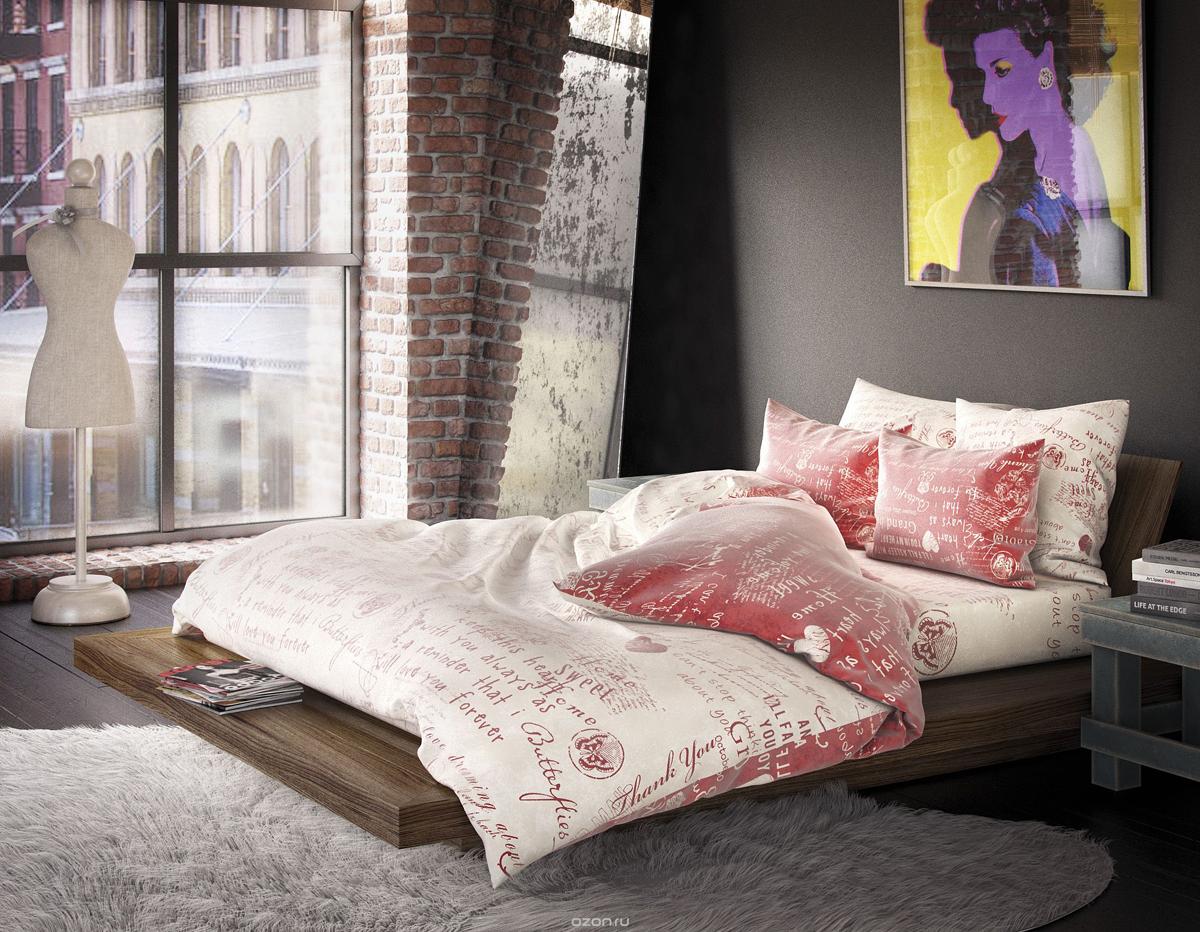 Комплект белья Волшебная ночь Эссе, 1,5-спальный, наволочки 50х70 и 40х40, цвет: красный, белый. 188408CA-3505Комплект белья Волшебная ночь Эссе состоит из пододеяльника, простыни, двух наволочек на спальные подушки и одной наволочки на подушку-думочку. Комплект выполнен из сатина - плотной ткани с мягким грифом. Изделия оформлены красивым рисунком в стиле лофт, который сделает спальню модной и стильной. Сатин - это натуральная ткань, которая производится из хлопкового волокна. Полотно этого материала весьма приятное на ощупь. Кроме этого, его отличие состоит в своеобразном блеске. Сатин обладает высокой прочностью и стойкостью к выцветанию, выдерживает большое количество стирок. Рекомендации по уходу: - Машинная и ручная стирка при температуре 60°C,- Не отбеливать, - Гладить при высокой температуре, - Сушить в стиральной машине при средней температуре, - Химчистка запрещена.