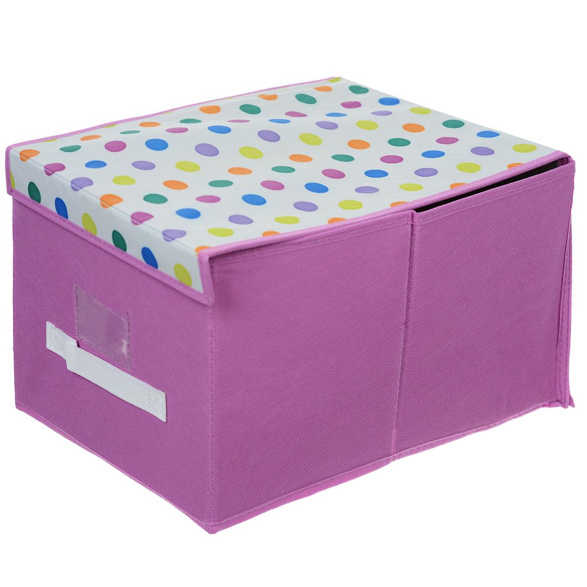 Чехол-коробка Voila Кидс, цвет: сиреневый, белый, 30 х 40 х 25 смМ471Чехол-коробка Voila Кидс поможет легко и красиво организовать пространство в детской комнате. Изделие выполнено из полиэстера и нетканого материала, прочность каркаса обеспечивается наличием внутри плотных и толстых листов картона. Чехол-коробка закрывается крышкой на две липучки, что поможет защитить вещи от пыли и грязи. Сбоку имеется ручка. Такой чехол идеально подойдет для хранения игрушек и детских вещей. Яркий дизайн изделия привлечет внимание ребенка и вызовет у него желание самостоятельно убирать игрушки. Складная конструкция обеспечивает компактное хранение.